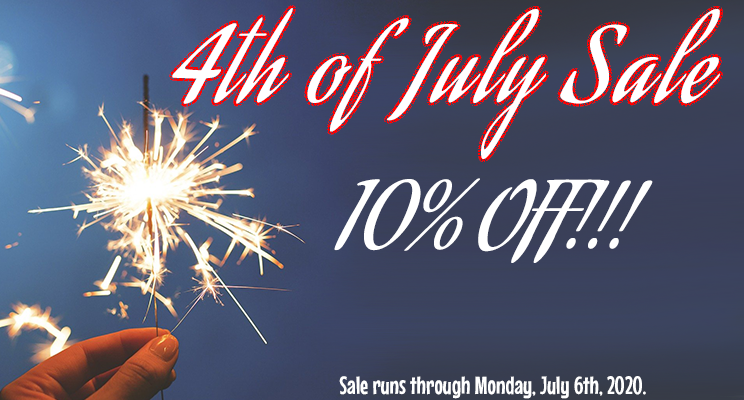 4th of July sale: 10% off all products through July 6