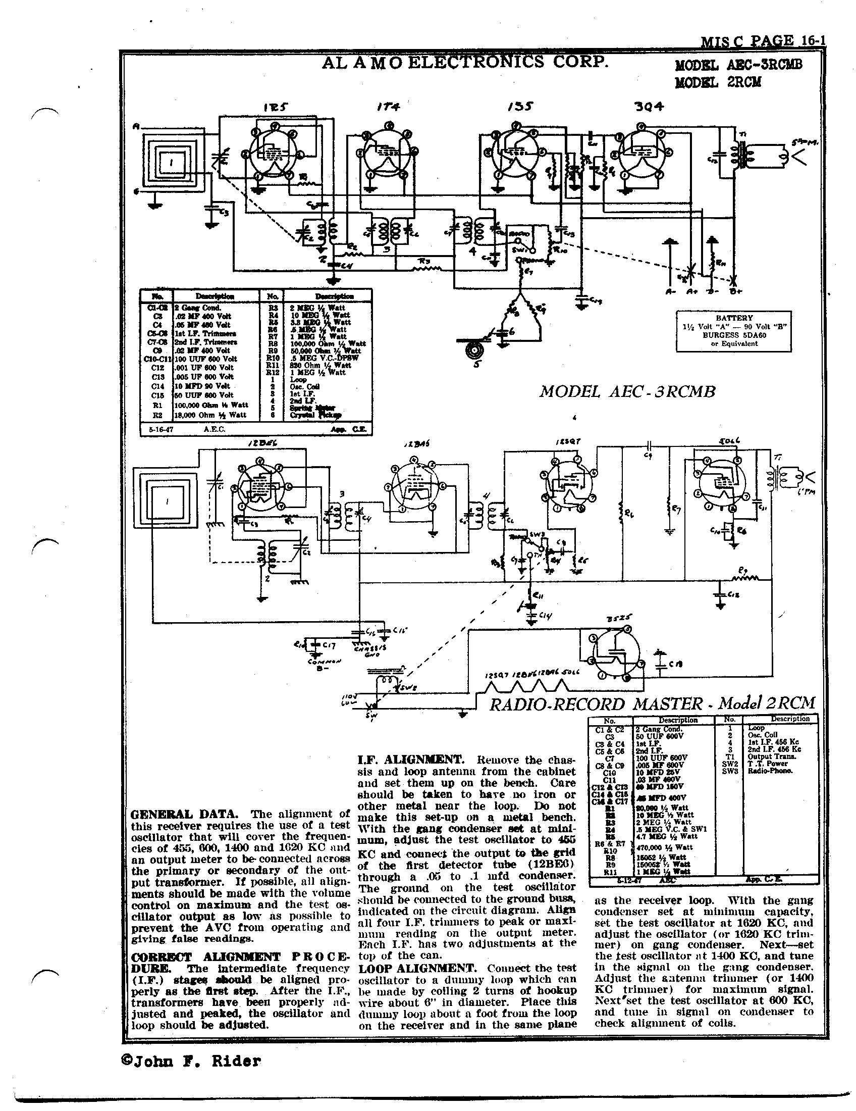 [DIAGRAM_5LK]  Alamo Electronics Corp. 2RCM | Antique Electronic Supply | Alamo Amp Schematics |  | Antique Electronic Supply