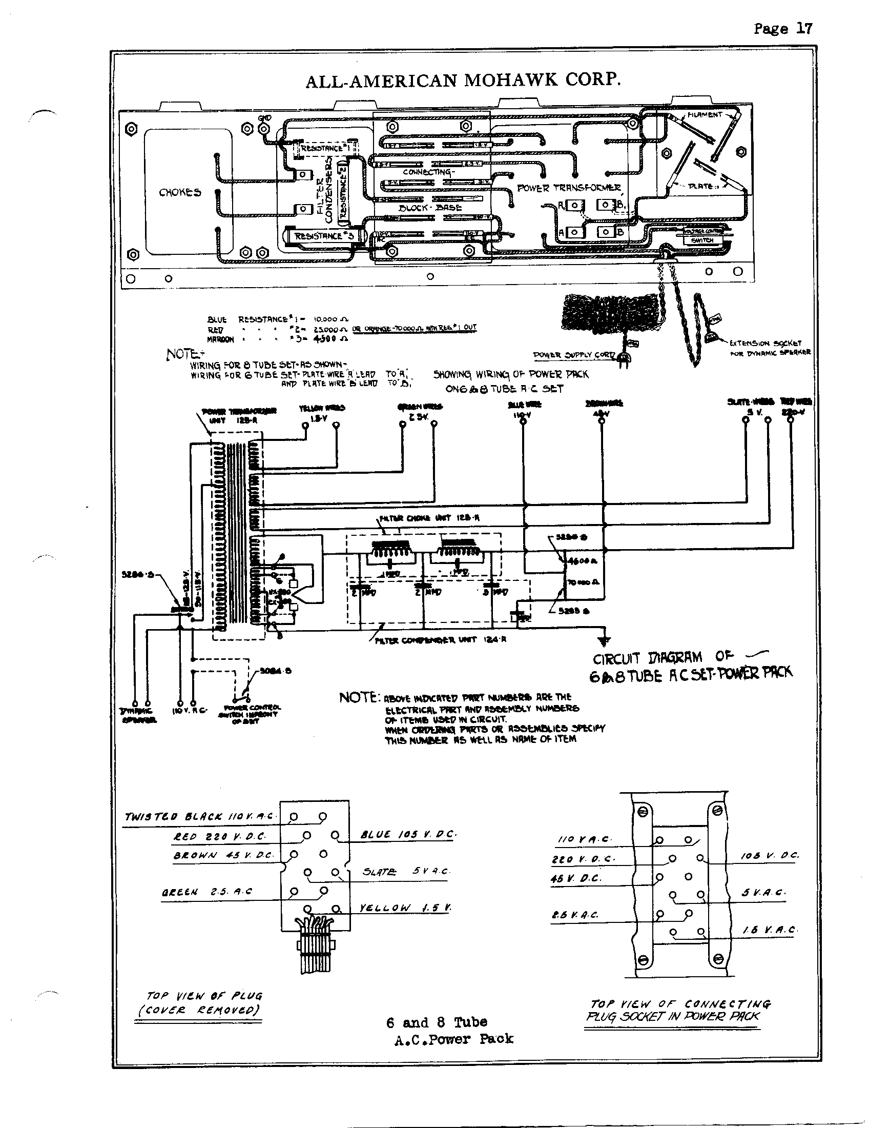 wiring diagram for power pack jacobsen 628d blade switch wiring diagram for power all american mohawk 6-8 tube ac power pack   antique ...