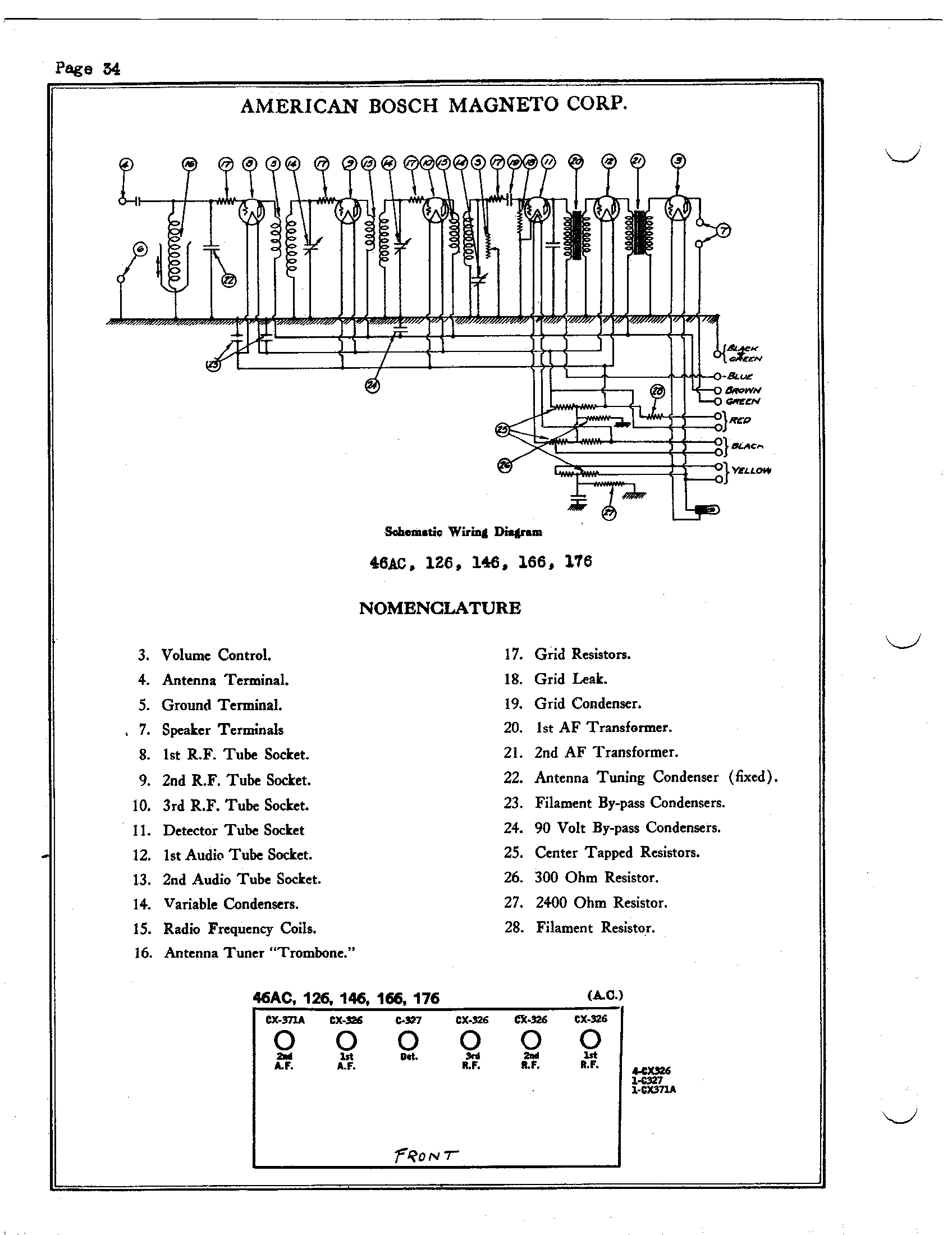 Bosch Volume Control Diagram Circuit Symbols Potentiometer Wiring On A Receptacle From American 126 Antique Electronic Supply Rh Tubesandmore Com Speaker