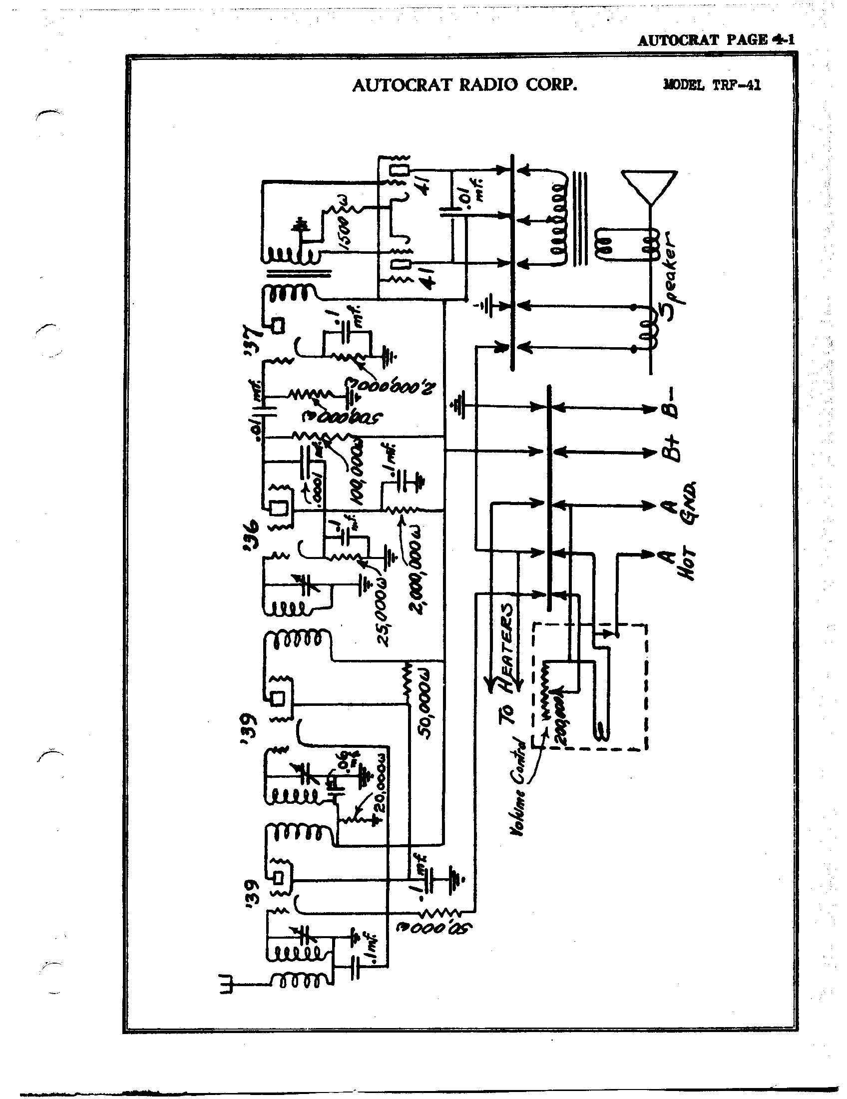 Autocrat Radio Corp. TRF-41 | Antique Electronic Supply on crystal radio schematic, transistor radio schematic, am radio circuit schematic,