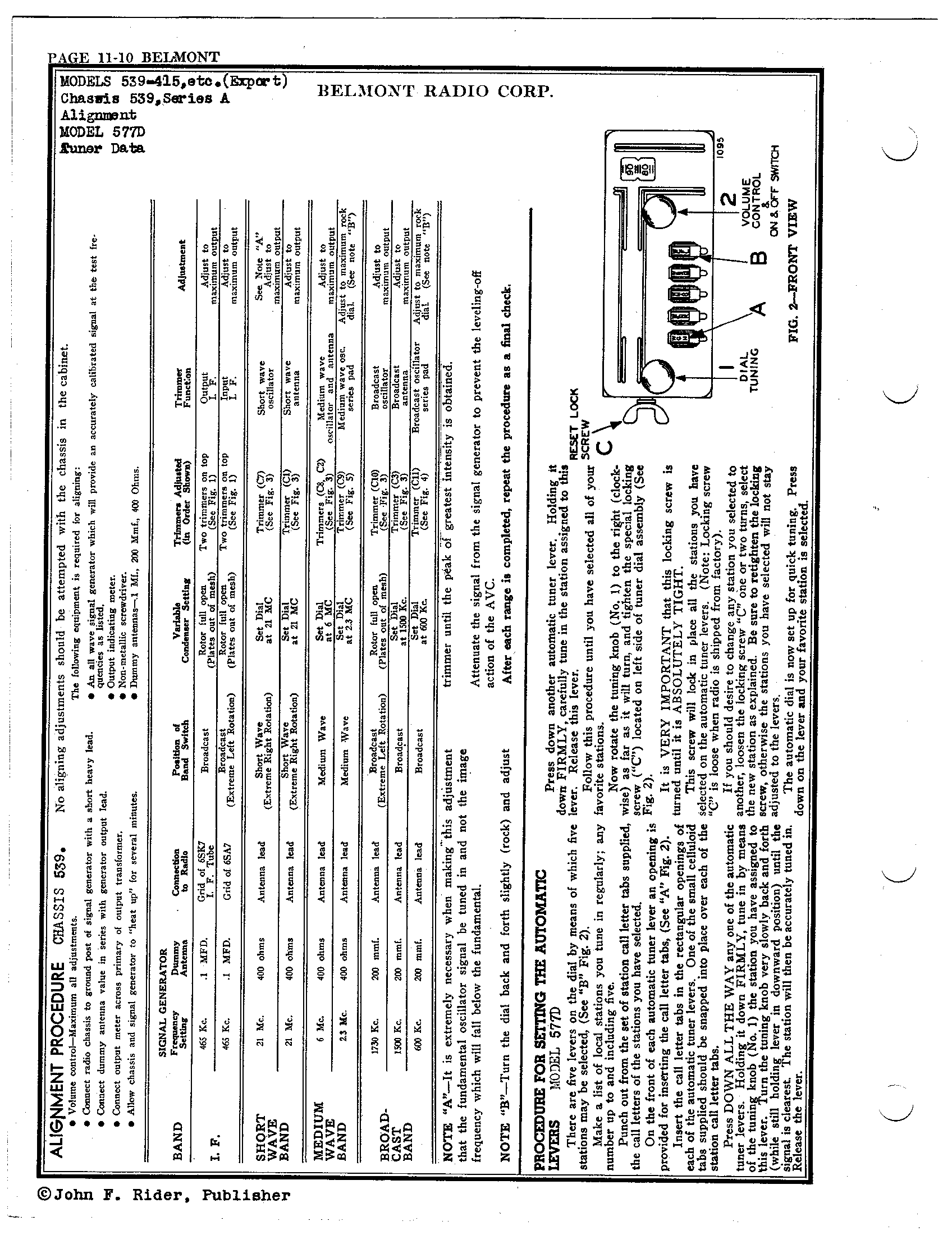 belmont radio corp  539  series a
