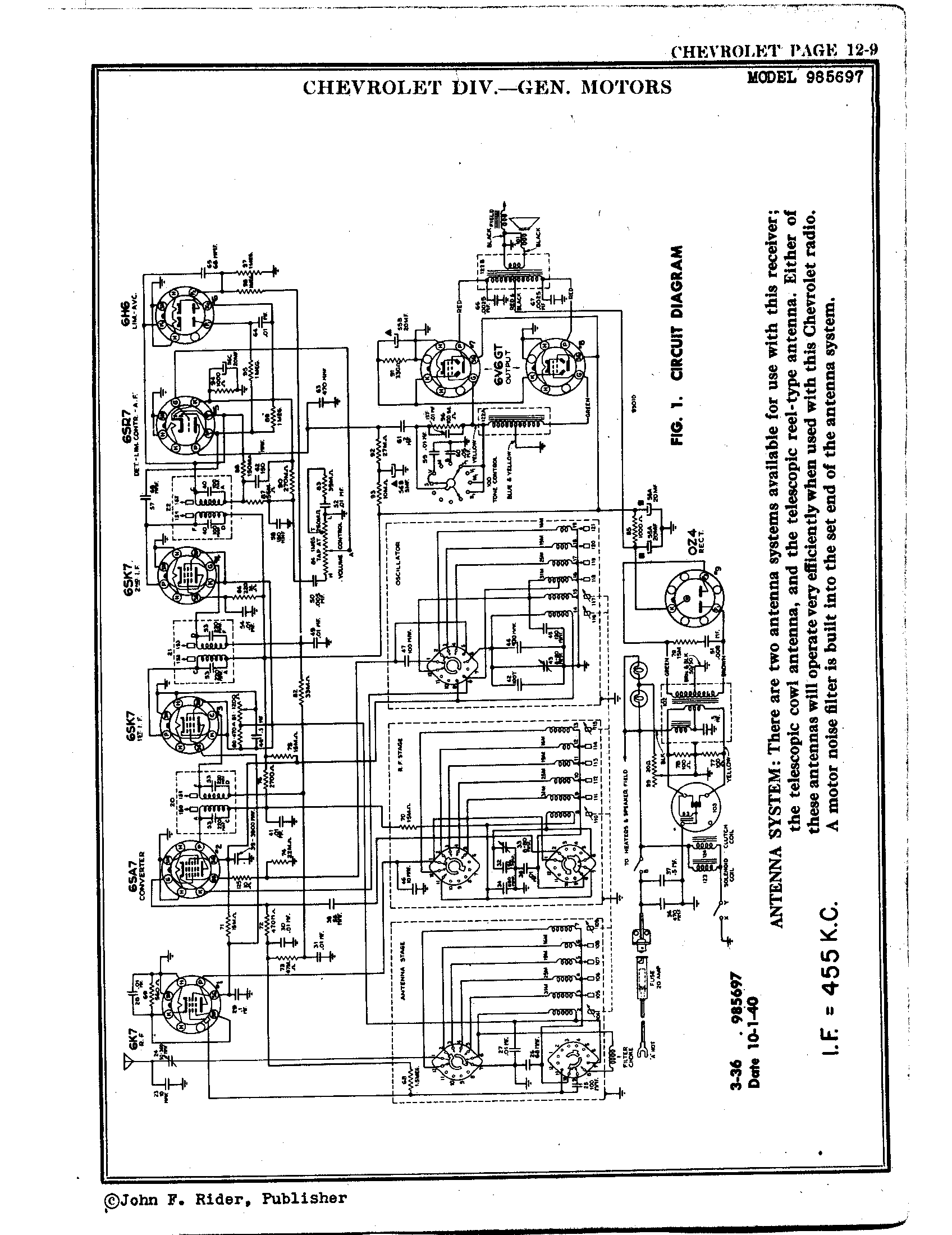 Chevrolet Div General Motors 985697 Antique Electronic Supply Noise Filter Circuit Diagram Schematic Pages