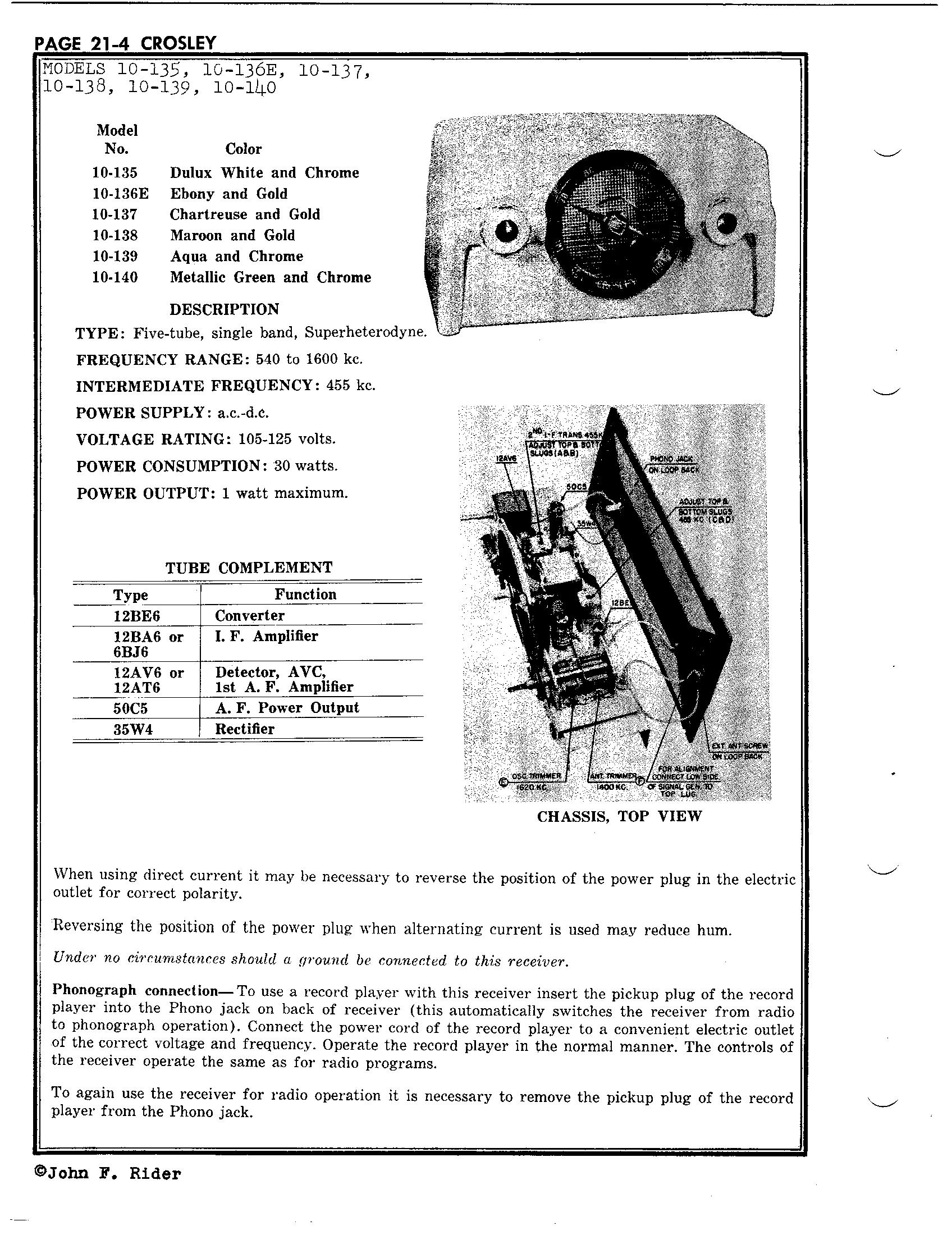 Crosley Corp 10 136e Antique Electronic Supply