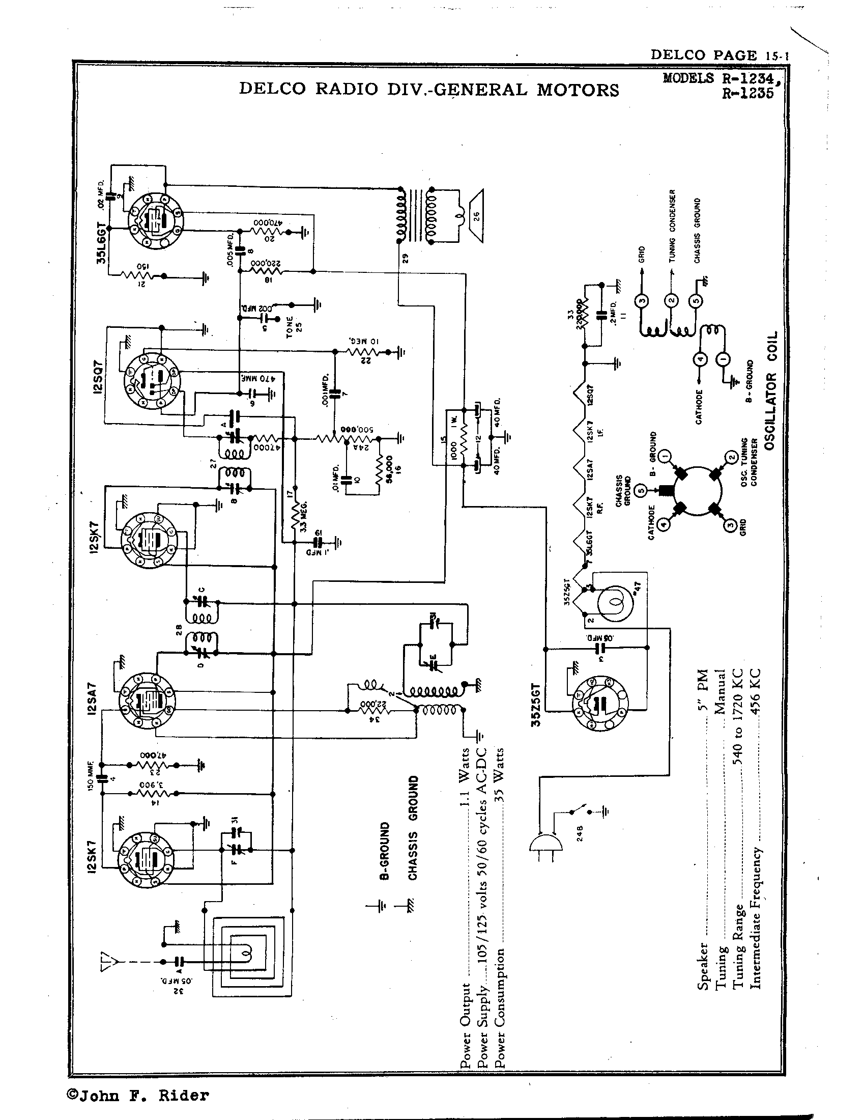 delco radio corp. r-1235 | antique electronic supply delco model 09354155 wiring diagram