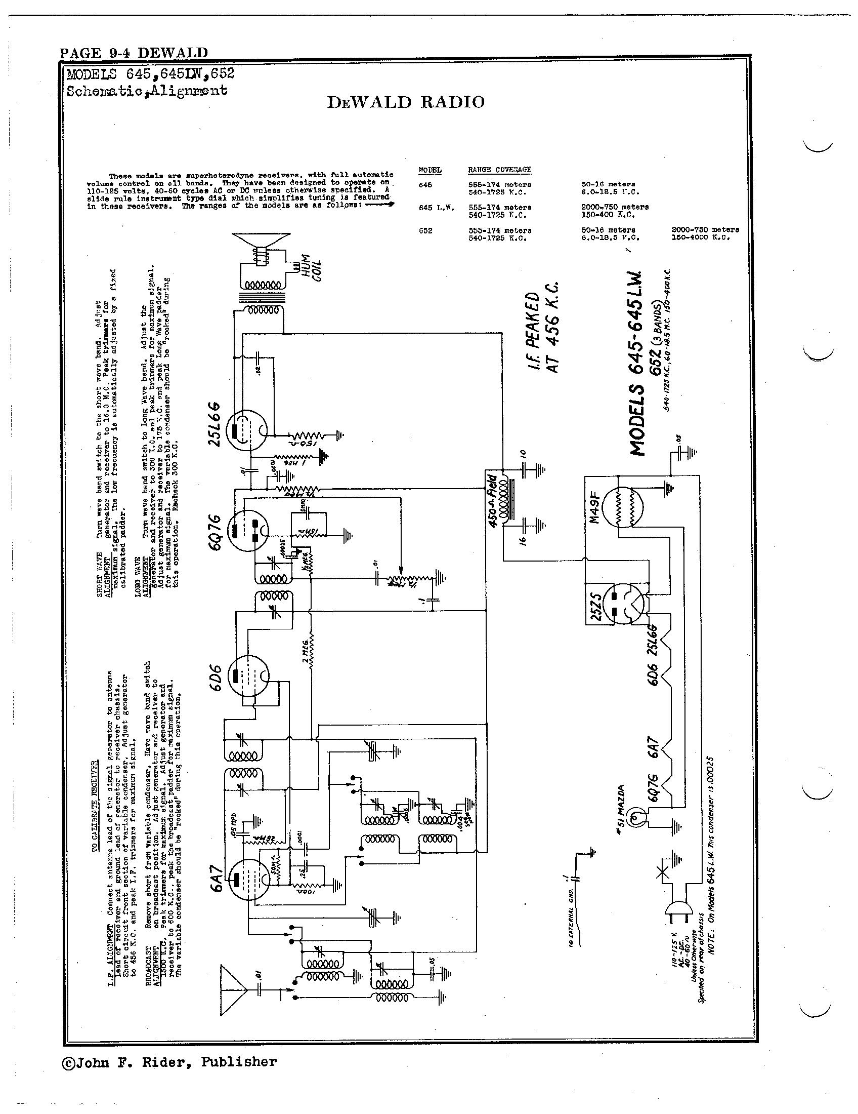 dewald radio mfg  corp  652