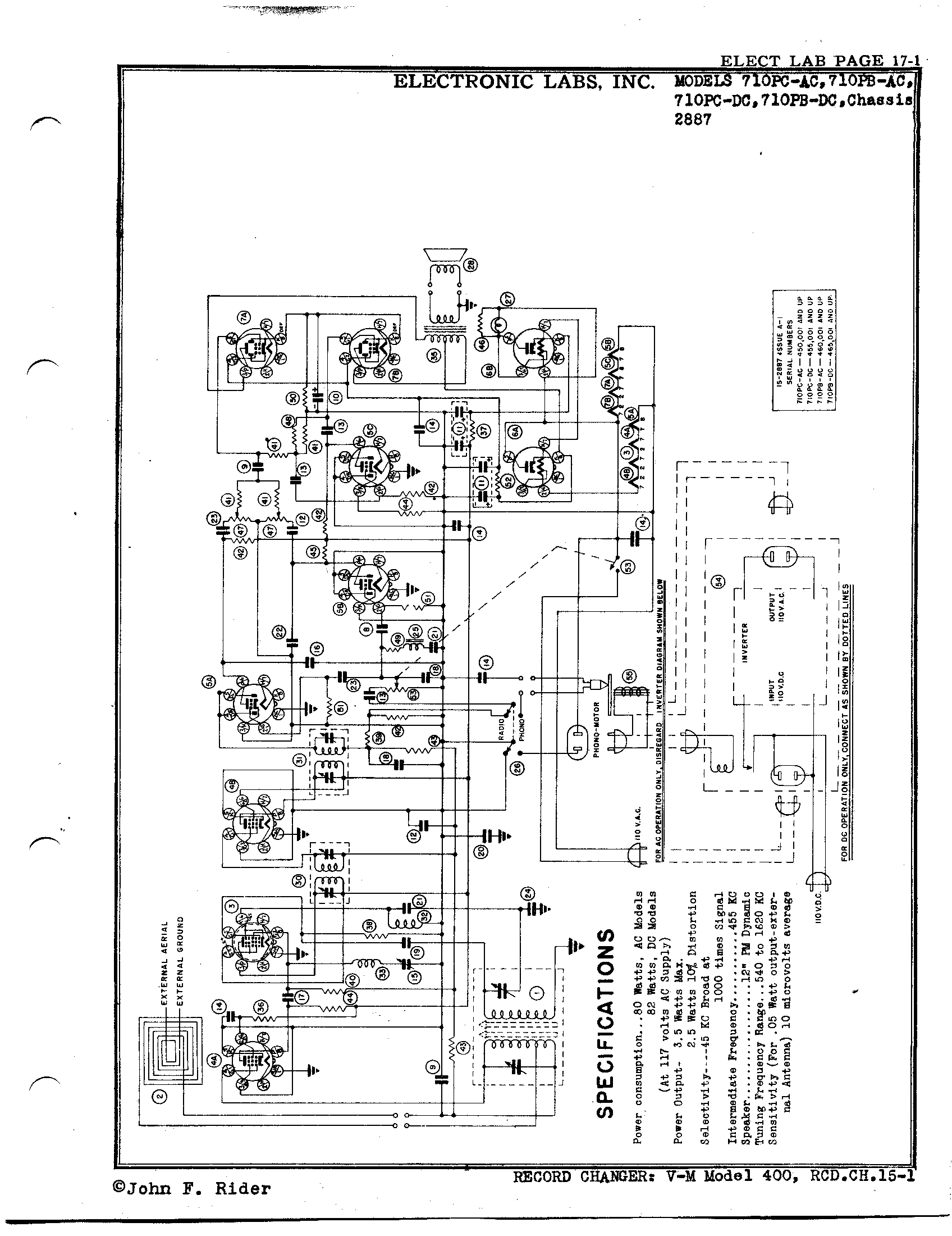 Electronic Laboratories, Inc  710PB-DC | Antique Electronic Supply