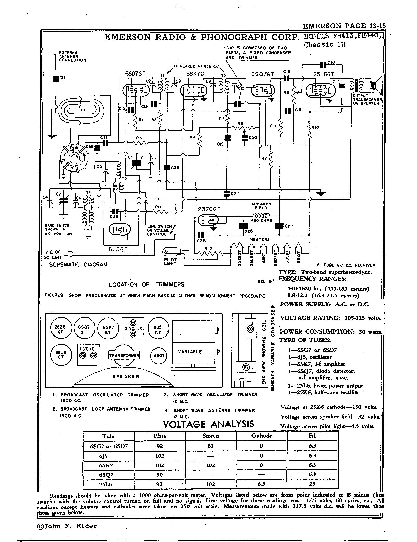 emerson radio phonograph corp fh440 antique electronic supply rh tubesandmore com emerson schematics Radio Shack Schematics