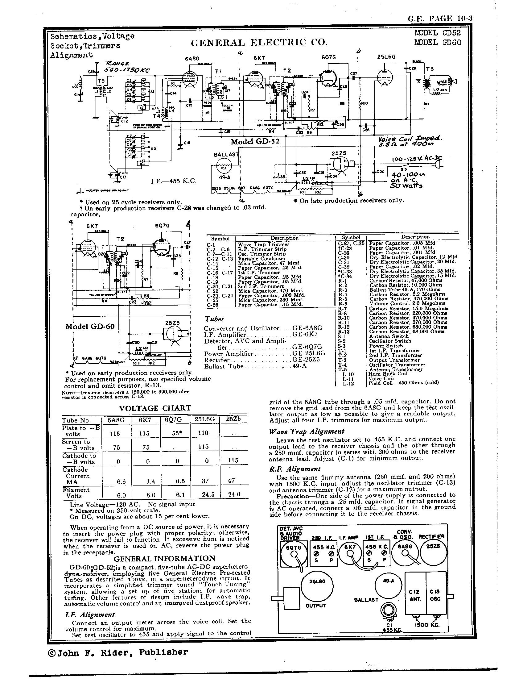 General Electric Gd60 Schematic Wire Center 1948 Ge Refrigerator Co Antique Electronic Supply Rh Tubesandmore Com Radio Schematics Diagram