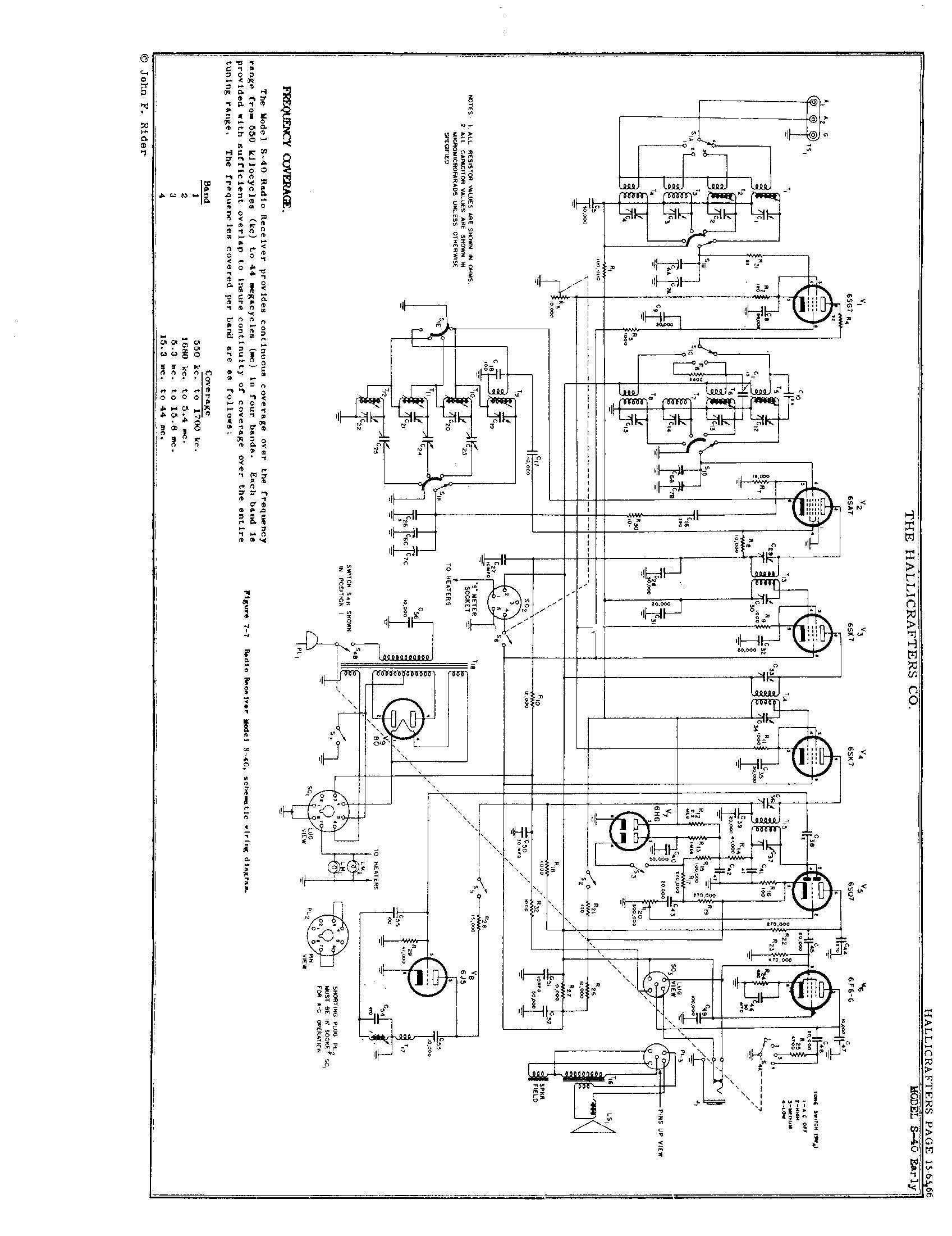 Hallicrafters, Inc. S-40 Schematic