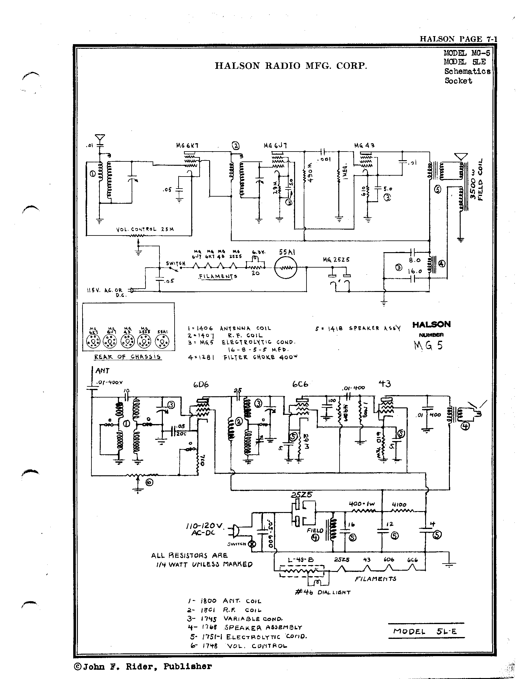 halson radio corp mg 5 schematic Electromechanical Diagram mg 5 schematic