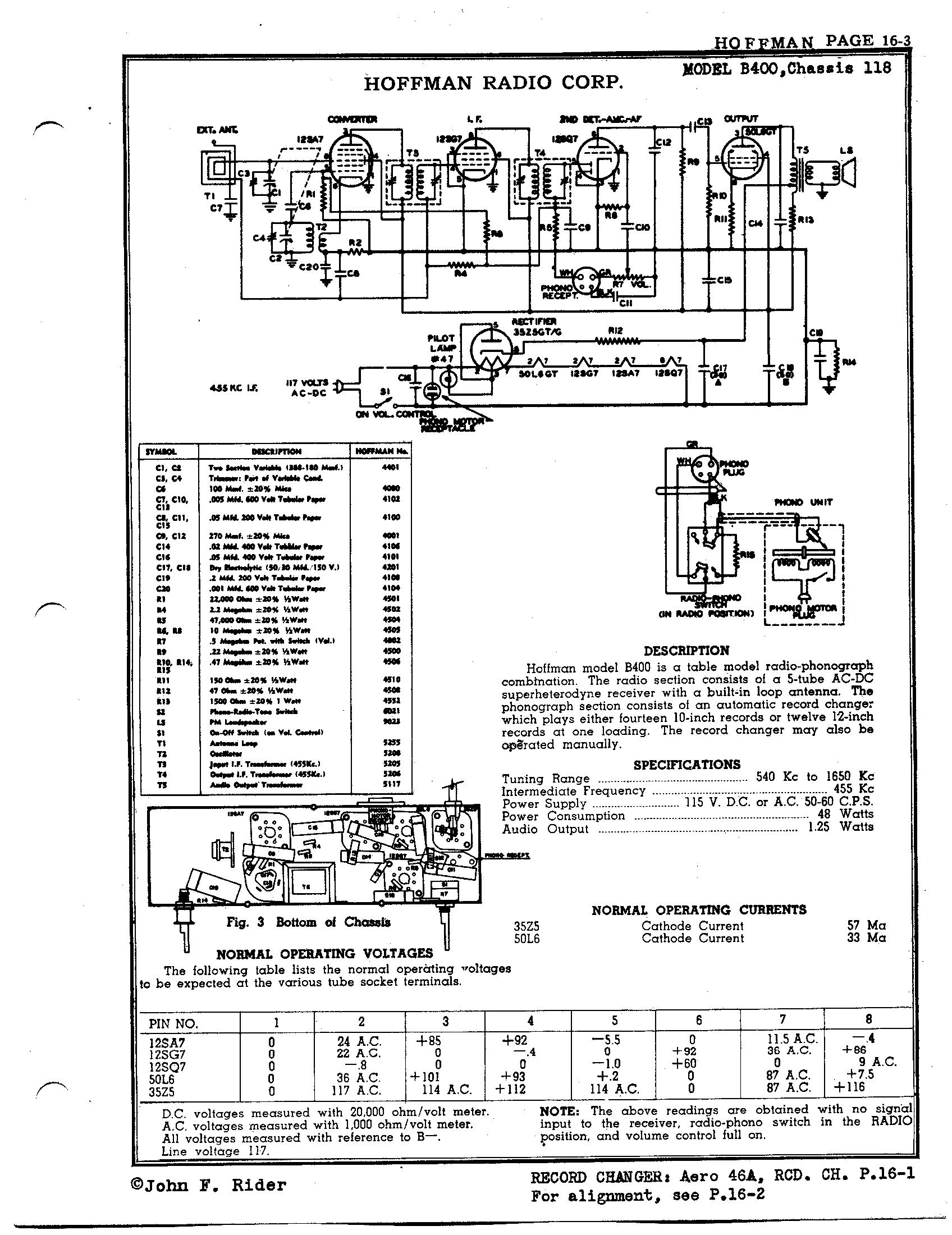 Hoffman Radio Corp. B400   Antique Electronic Supply