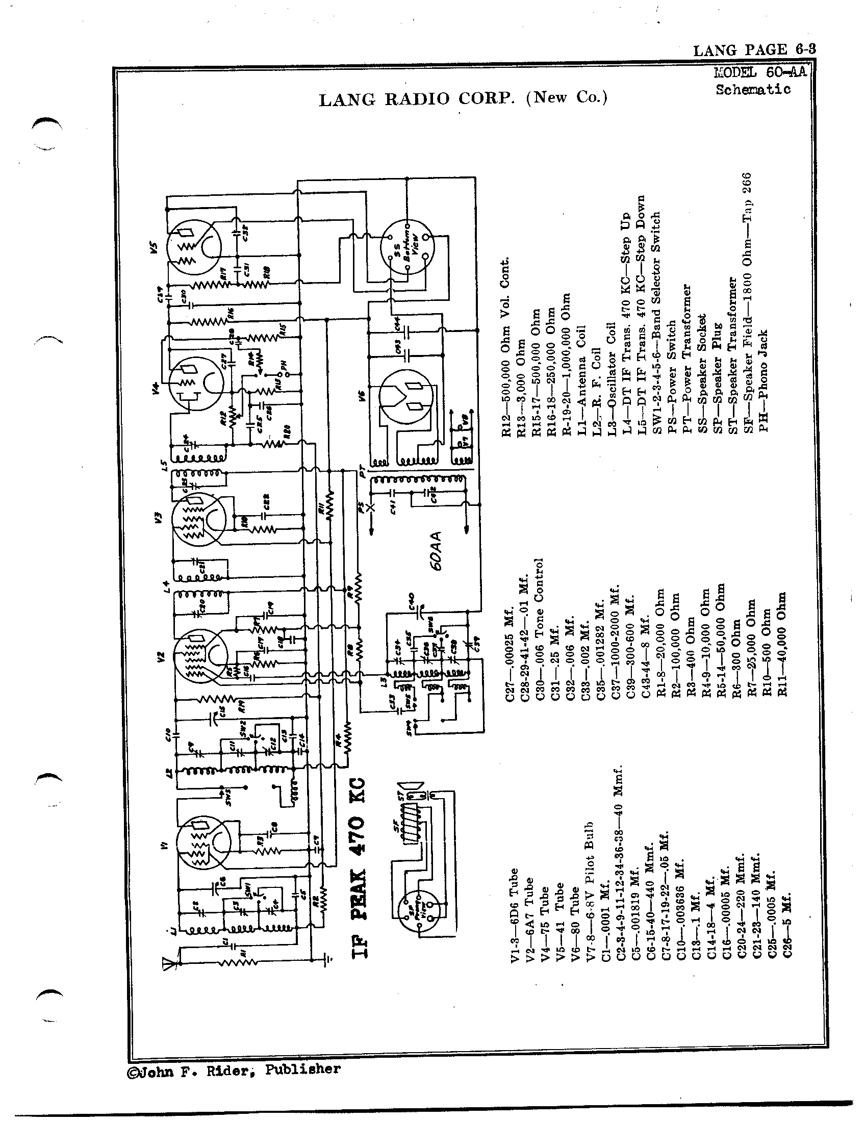 Lang Radio Co. 60-AA Schematic