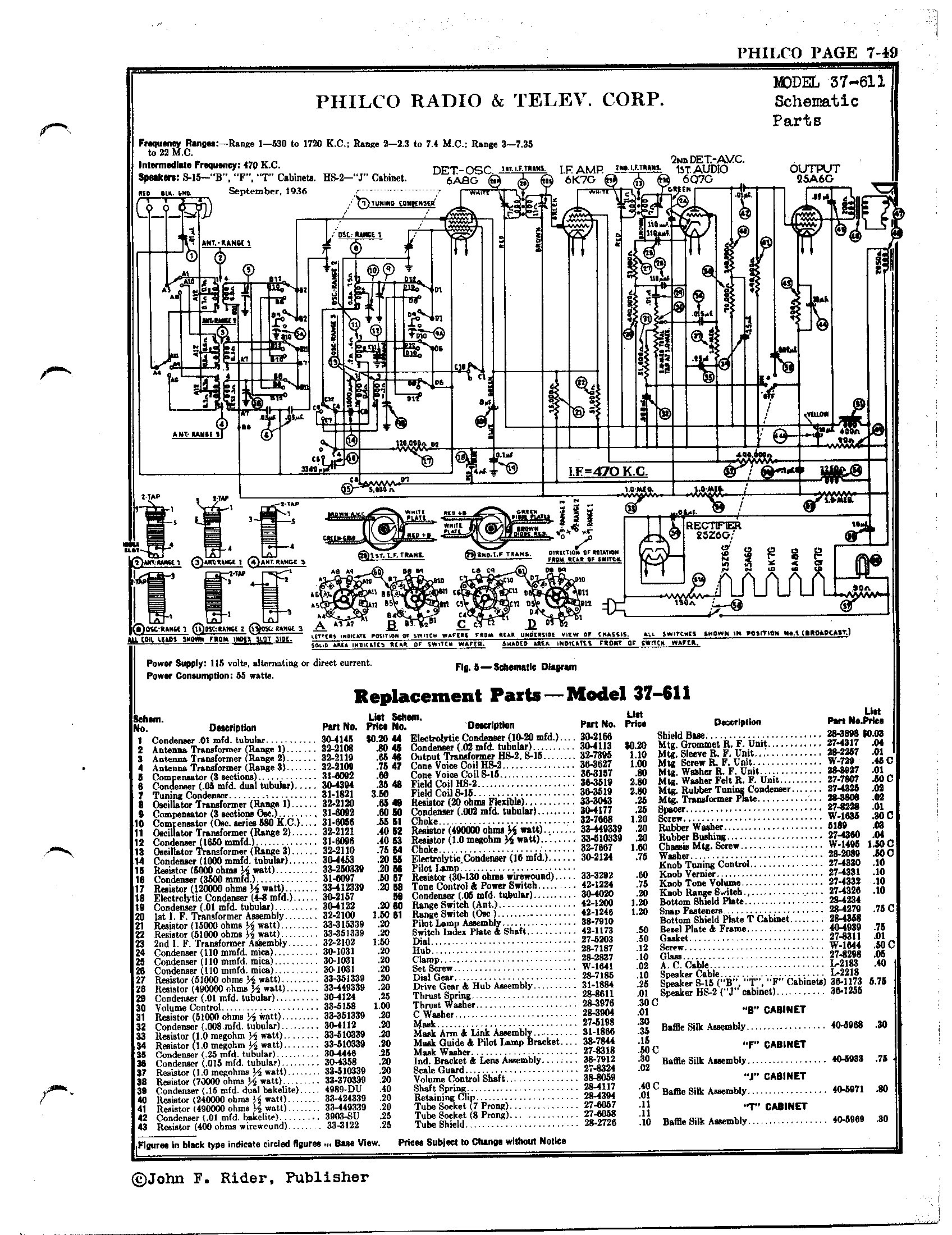 Philco Radio & Television Corp. 37-611 | Antique Electronic Supply