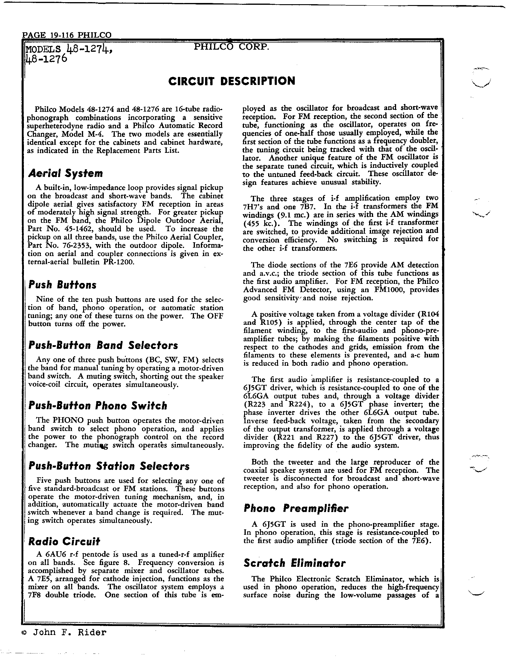 Philco Radio Television Corp 48 1274 Antique Electronic Supply Voice Changer Circuit Page 9 8691 Kb Rider Manual Volume 19