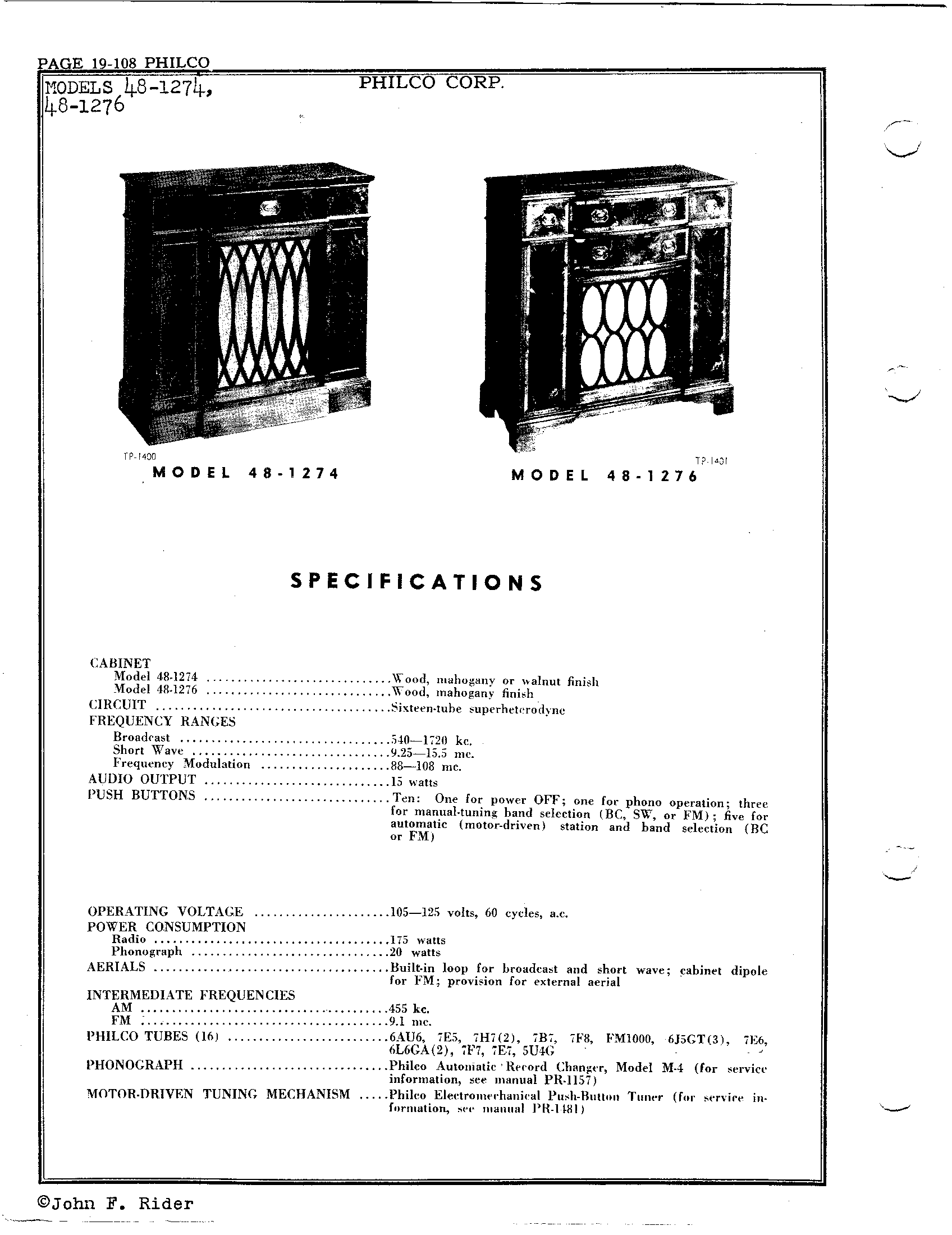 Philco Radio & Television Corp  48-1276 | Antique Electronic Supply