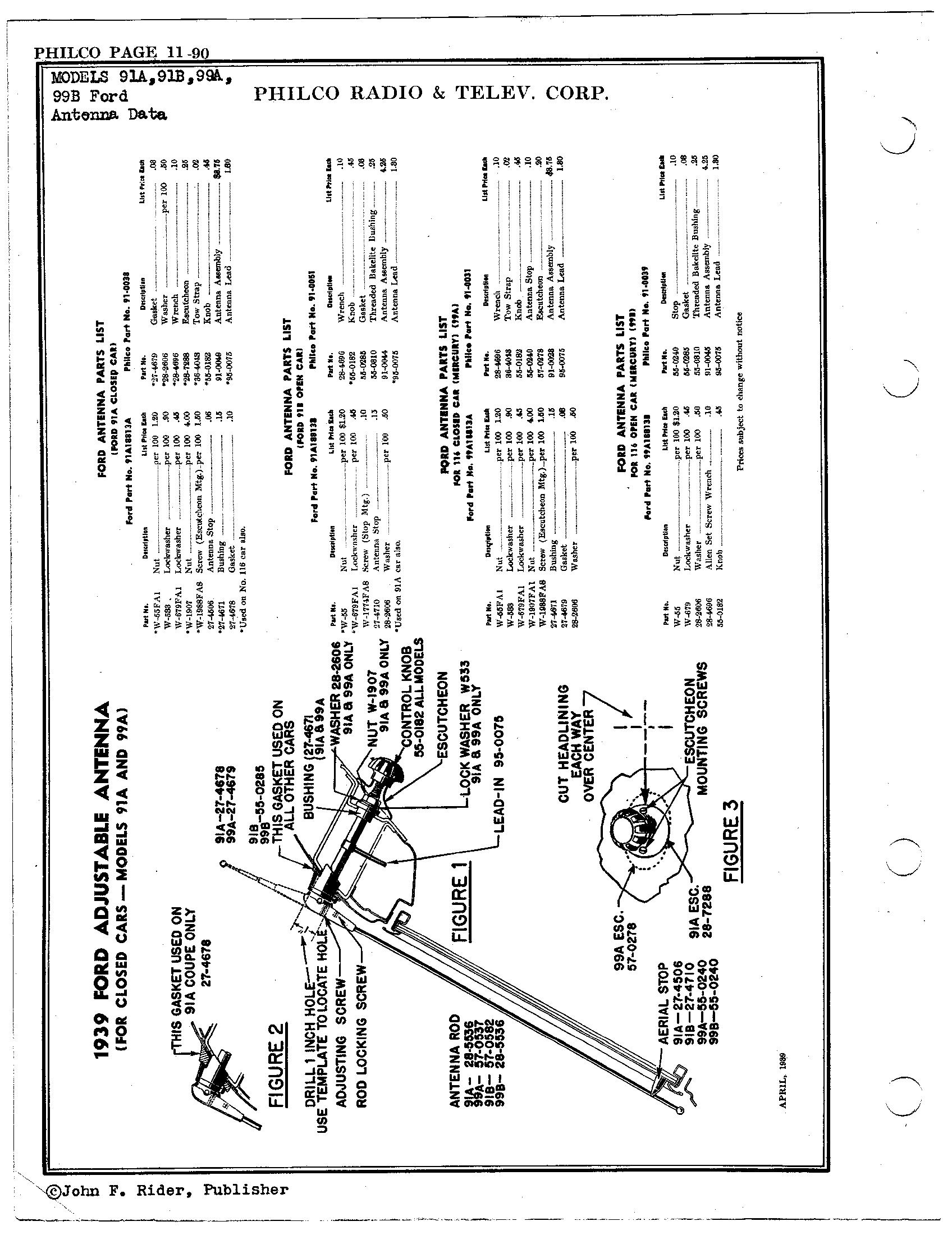 philco radio  u0026 television corp  91a  1939 ford