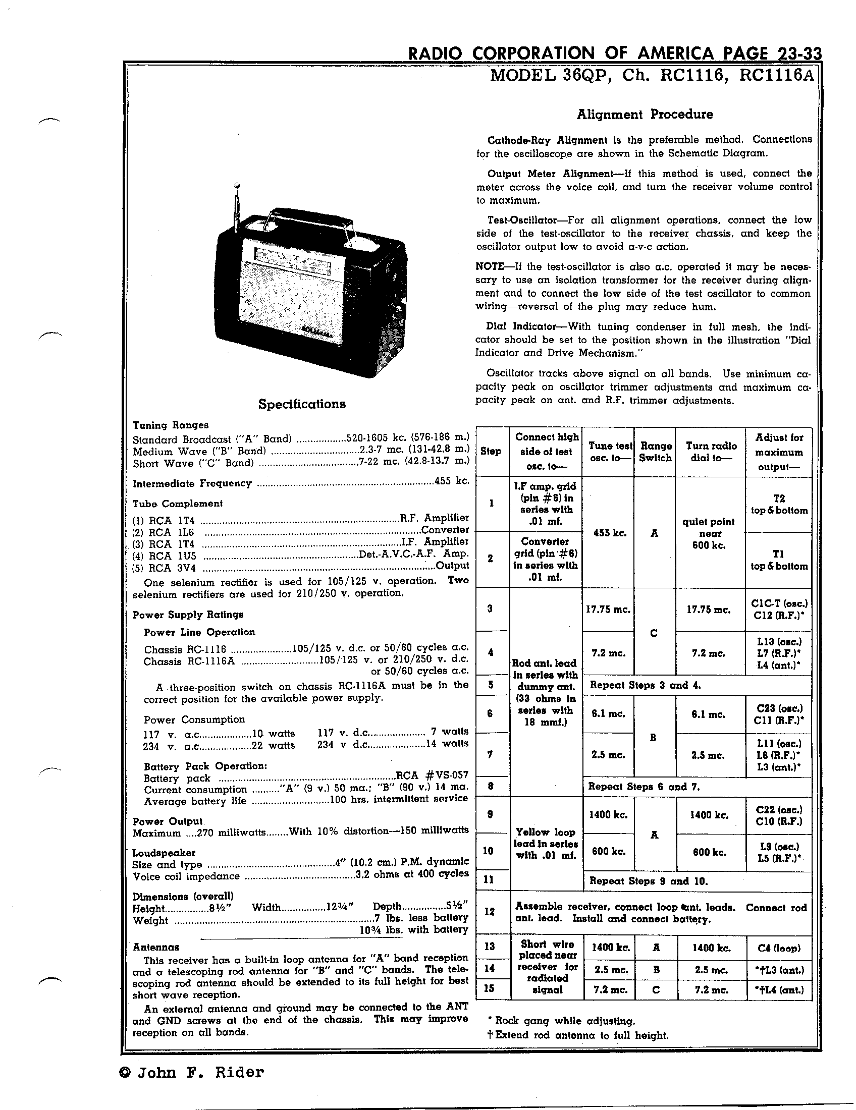 Rca Victor Co Inc 36qp Antique Electronic Supply Isolation Transformer Schematic Diagram Pages