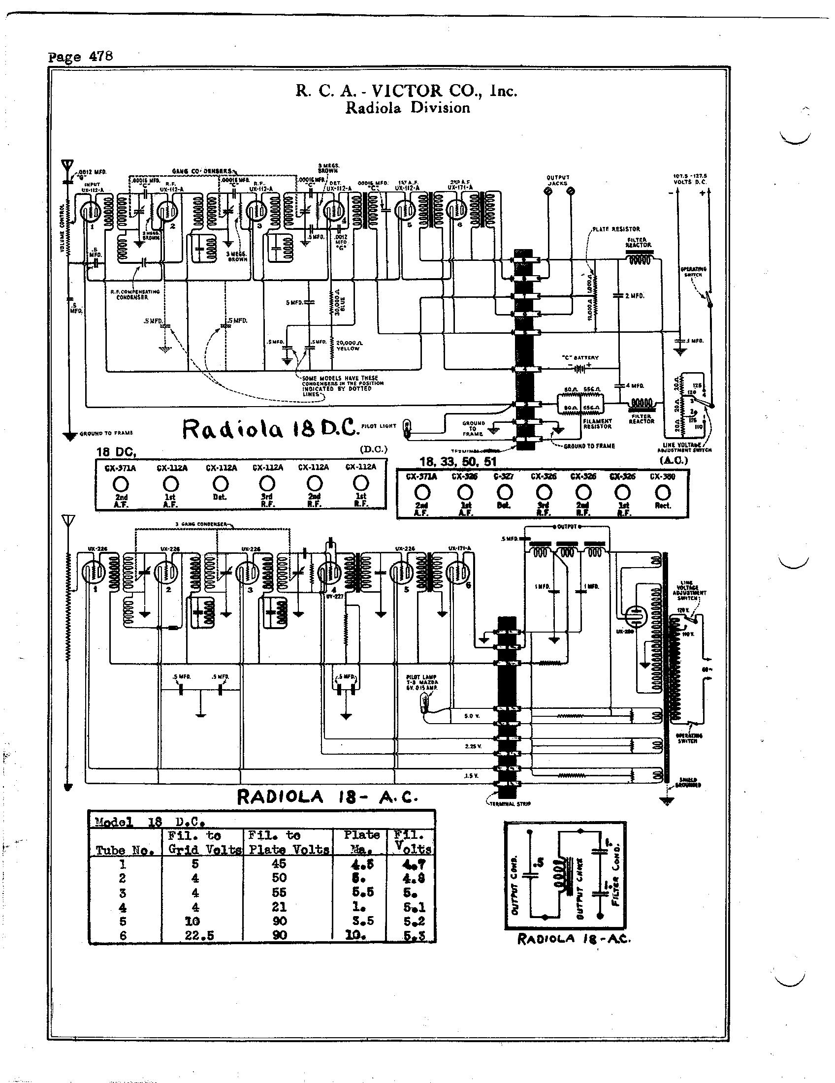 RCA Victor Co., Inc. Radiola 18 DC Schematic