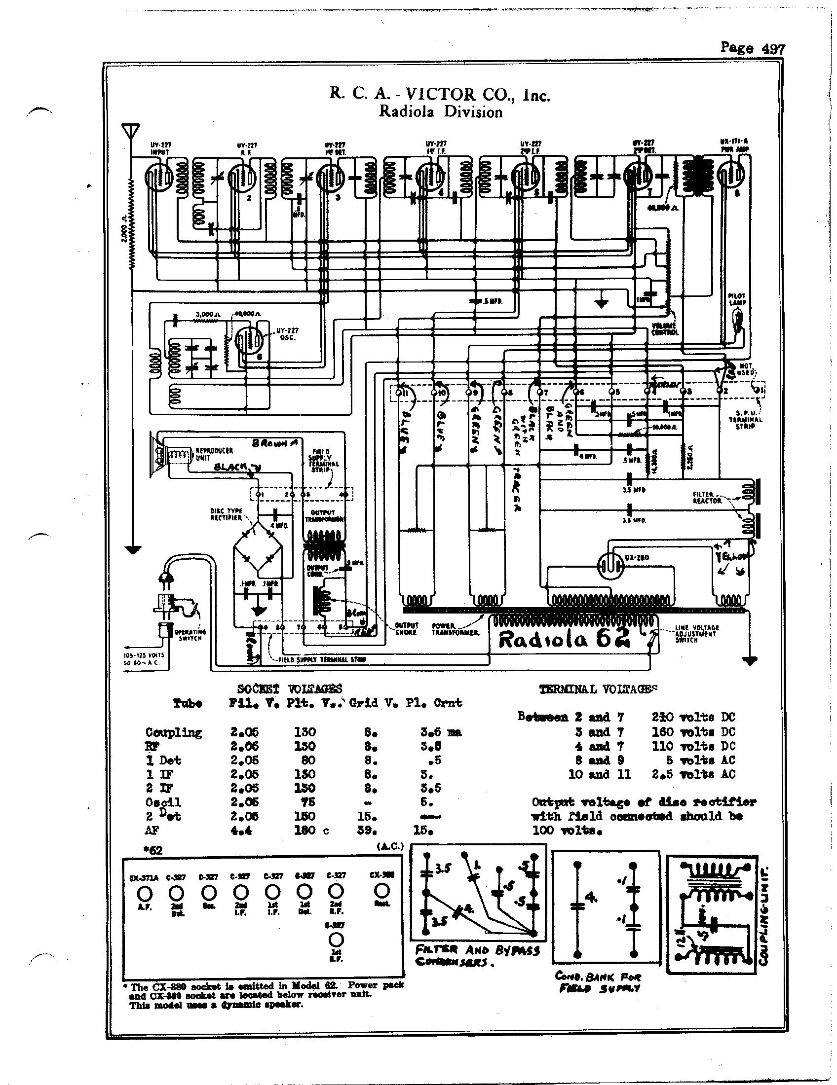 RCA Victor Co., Inc. Radiola 62 Schematic