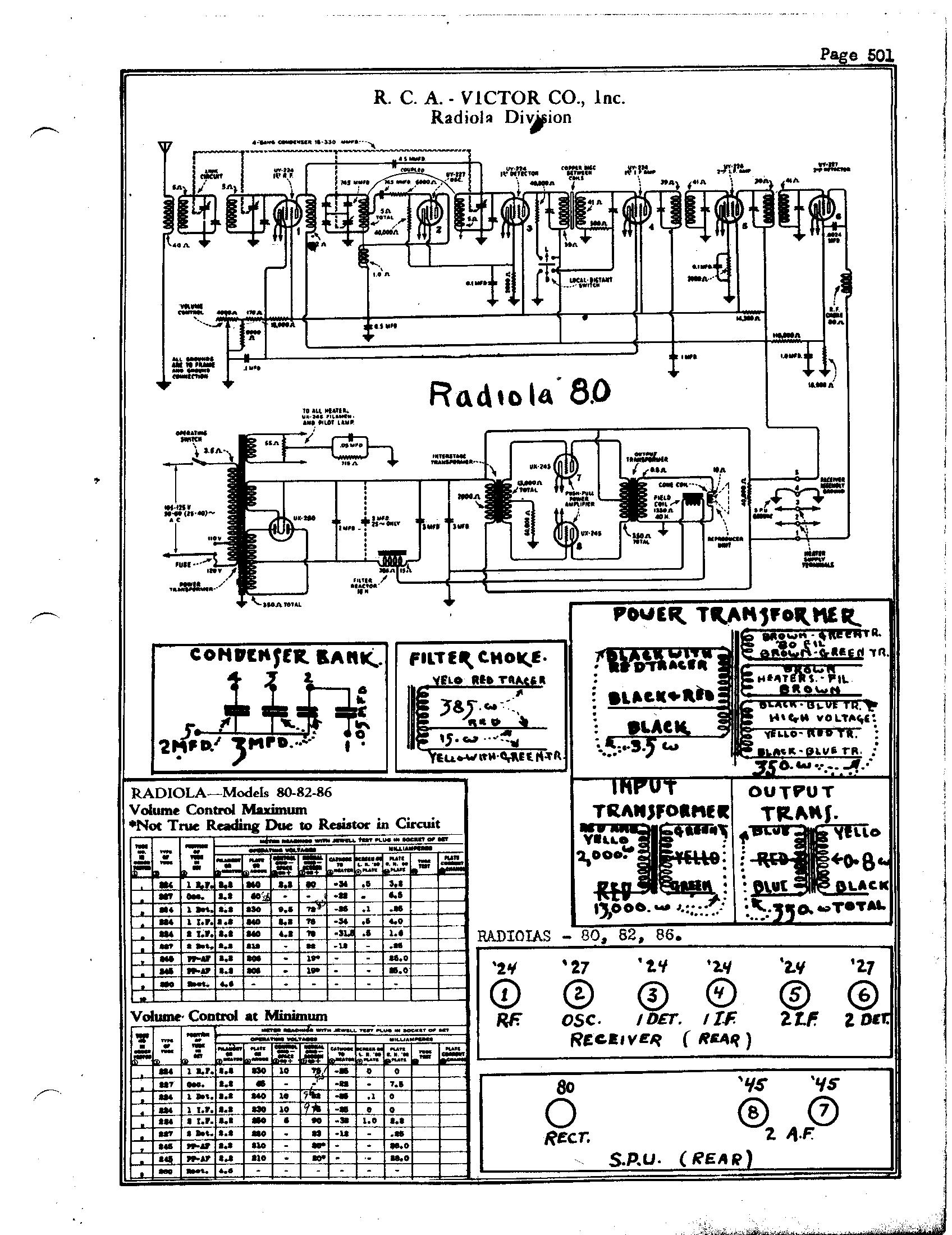 RCA Victor Co., Inc. Radiola 86 Schematic