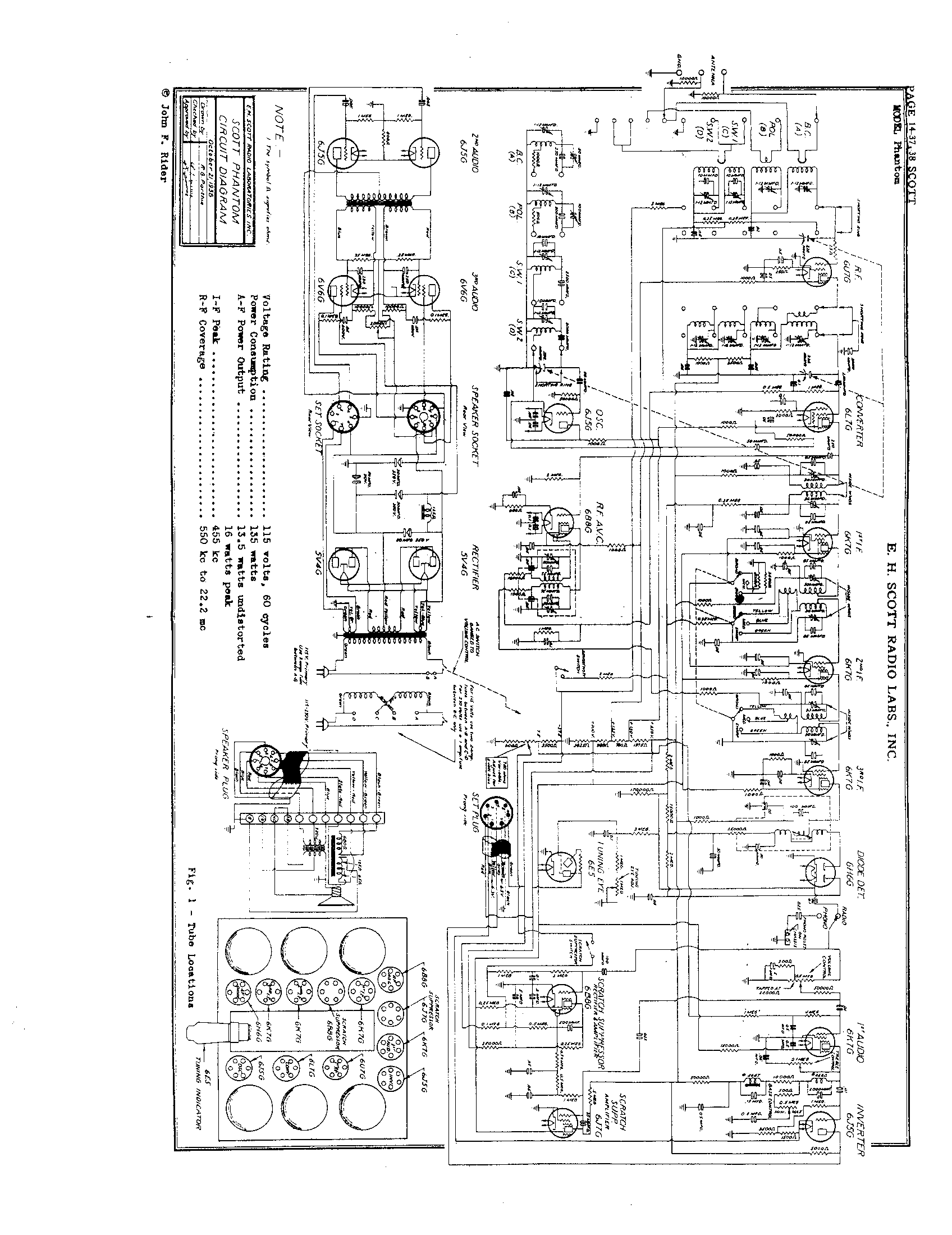 Scott Radio Labs Inc Phantom Antique Electronic Supply Power Schematic Pages
