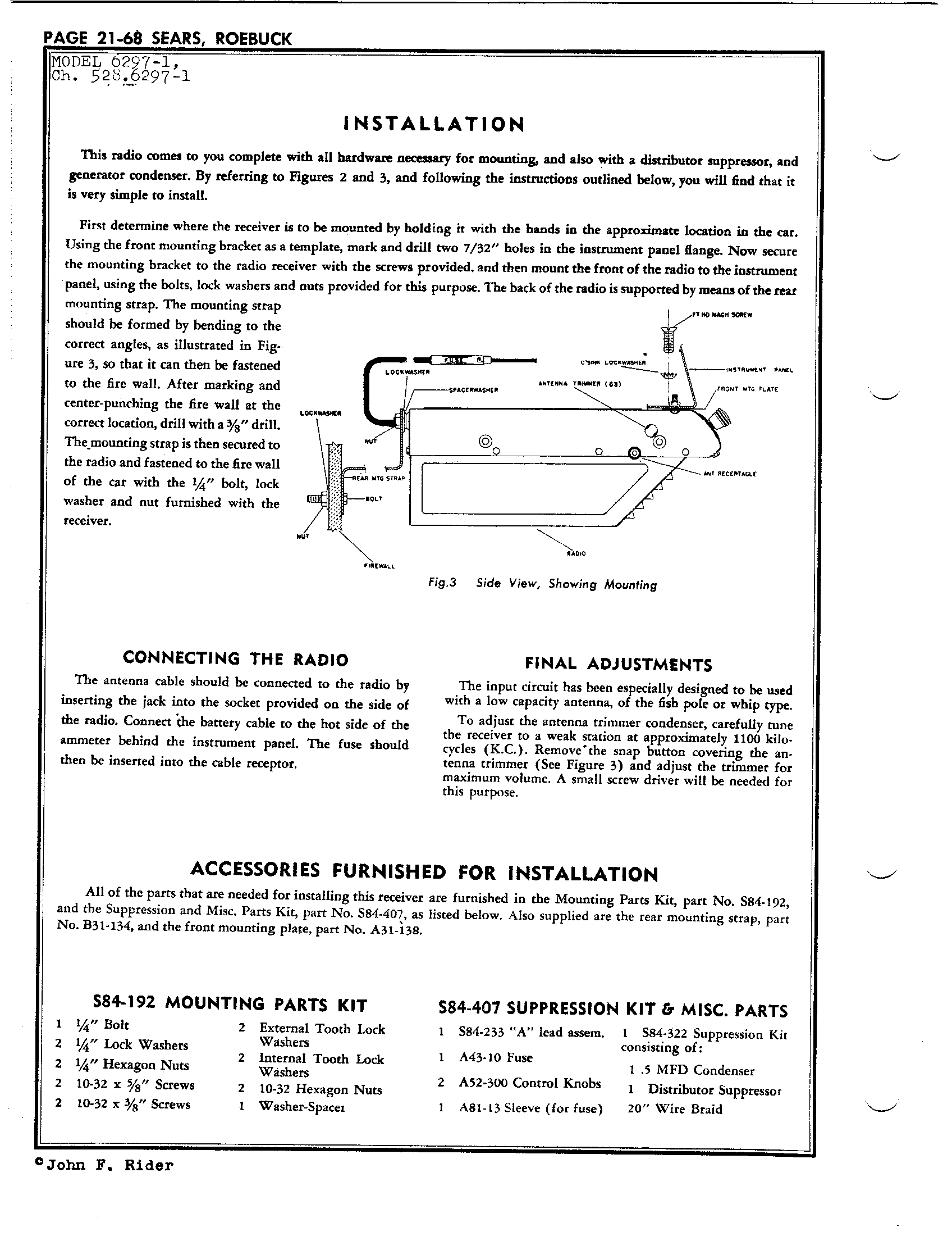 Sears Roebuck Co 6297 1 Antique Electronic Supply Silvertone Wiring Diagram Page 2 5726 Kb Rider Manual Volume 21