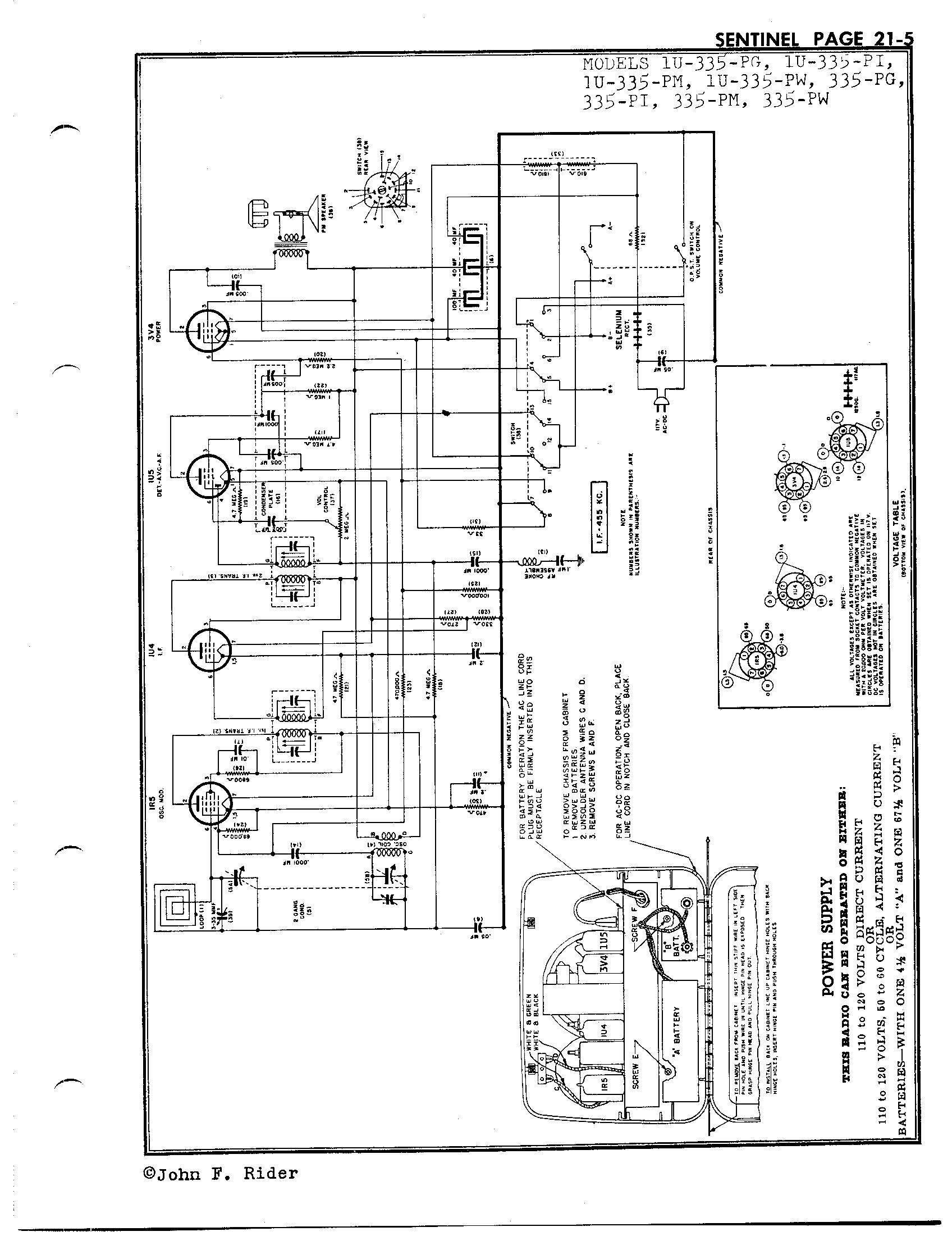 Sentinel Radio Corp. 1U-335-PM | Antique Electronic Supply