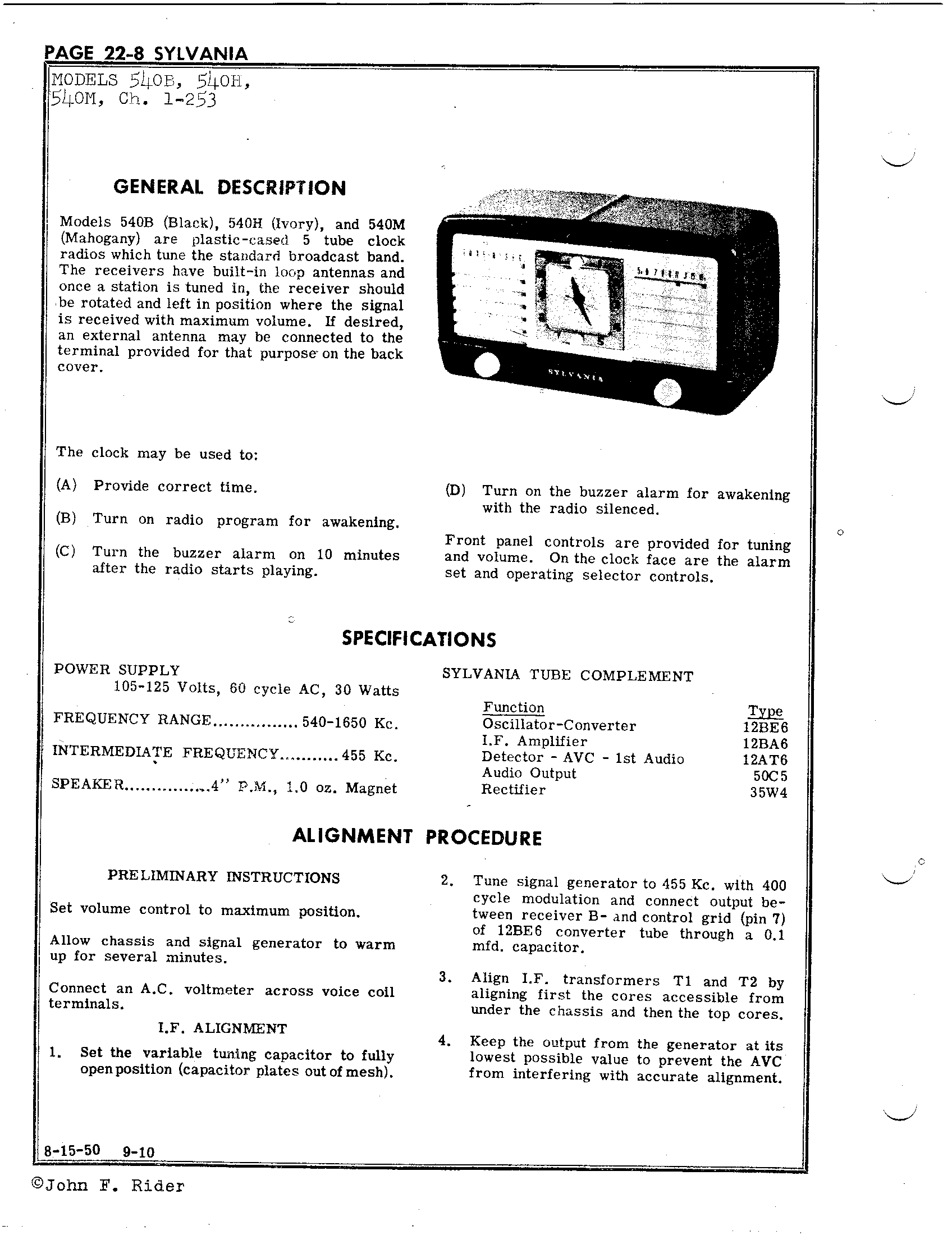 Sylvania Electric Products 540b Antique Electronic Supply. Schematic Pages. Wiring. Sylvania Tube Radio Schematics At Scoala.co