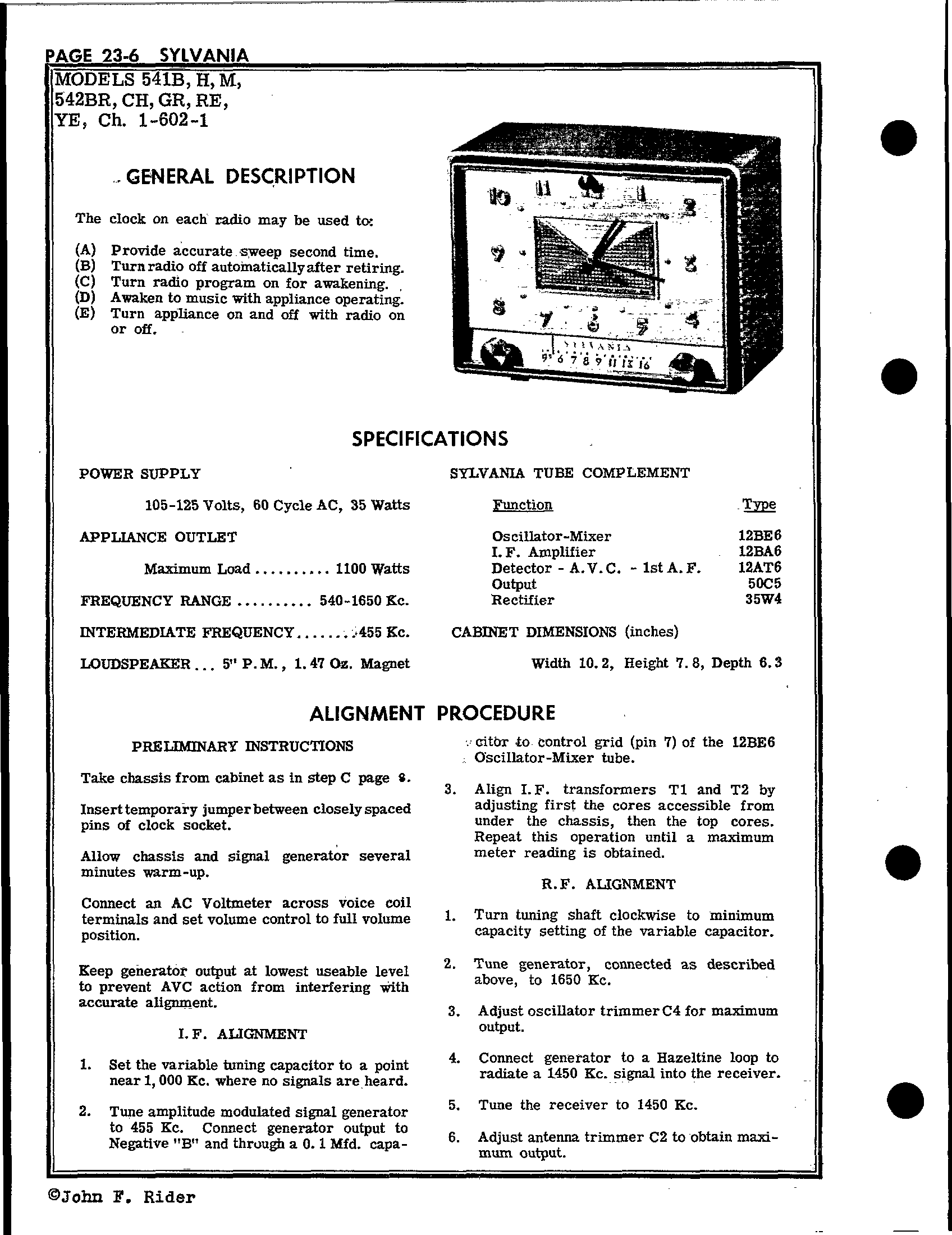 Sylvania Electric Products 542re Antique Electronic Supply. Schematic Pages. Wiring. Sylvania Tube Radio Schematics At Scoala.co