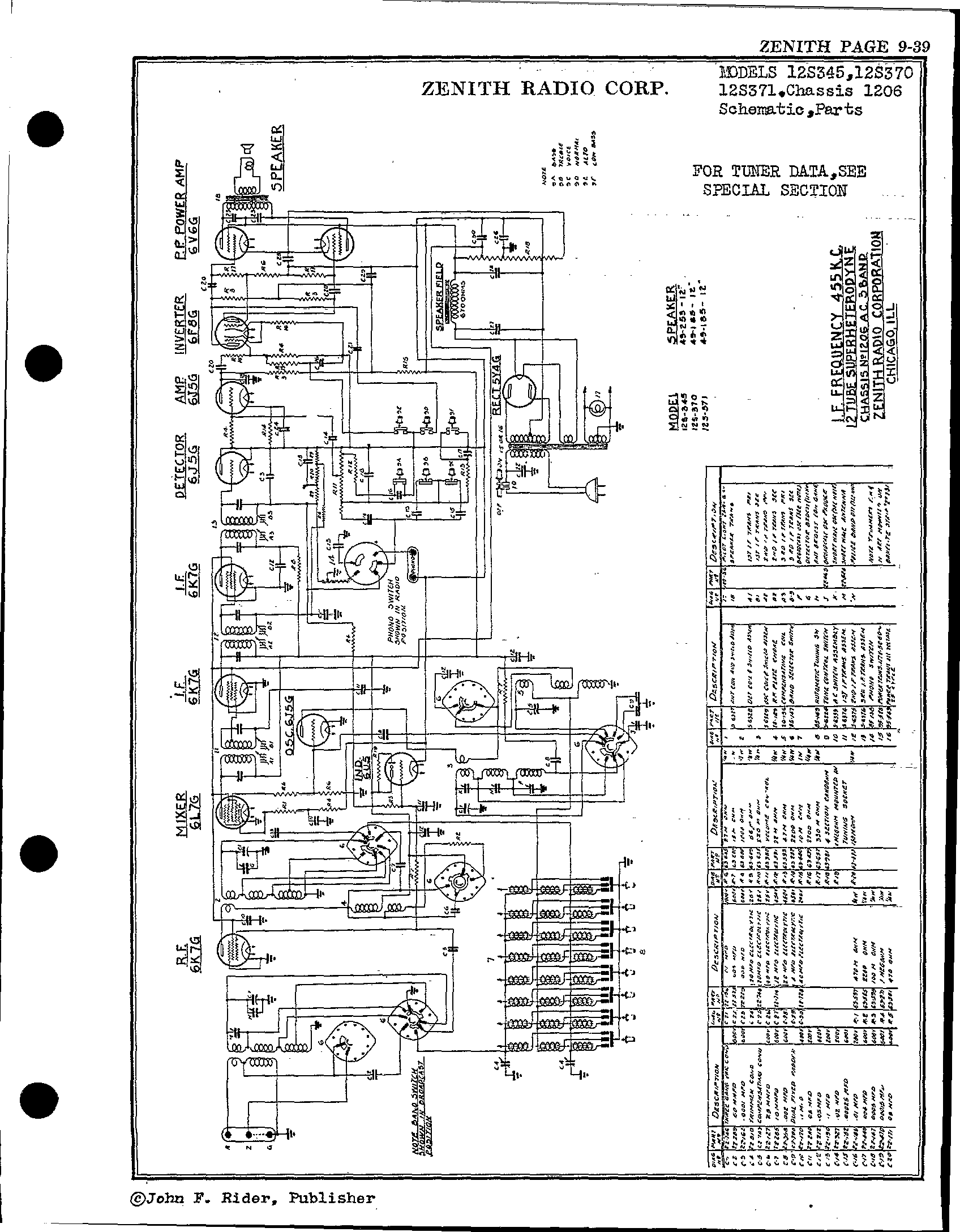 Zenith Radio Corp 12s370 Antique Electronic Supply. Page 1 8226 Kb Rider Manual Volume 9. Wiring. Zenith Tube Radio Schematics N73 1 At Scoala.co