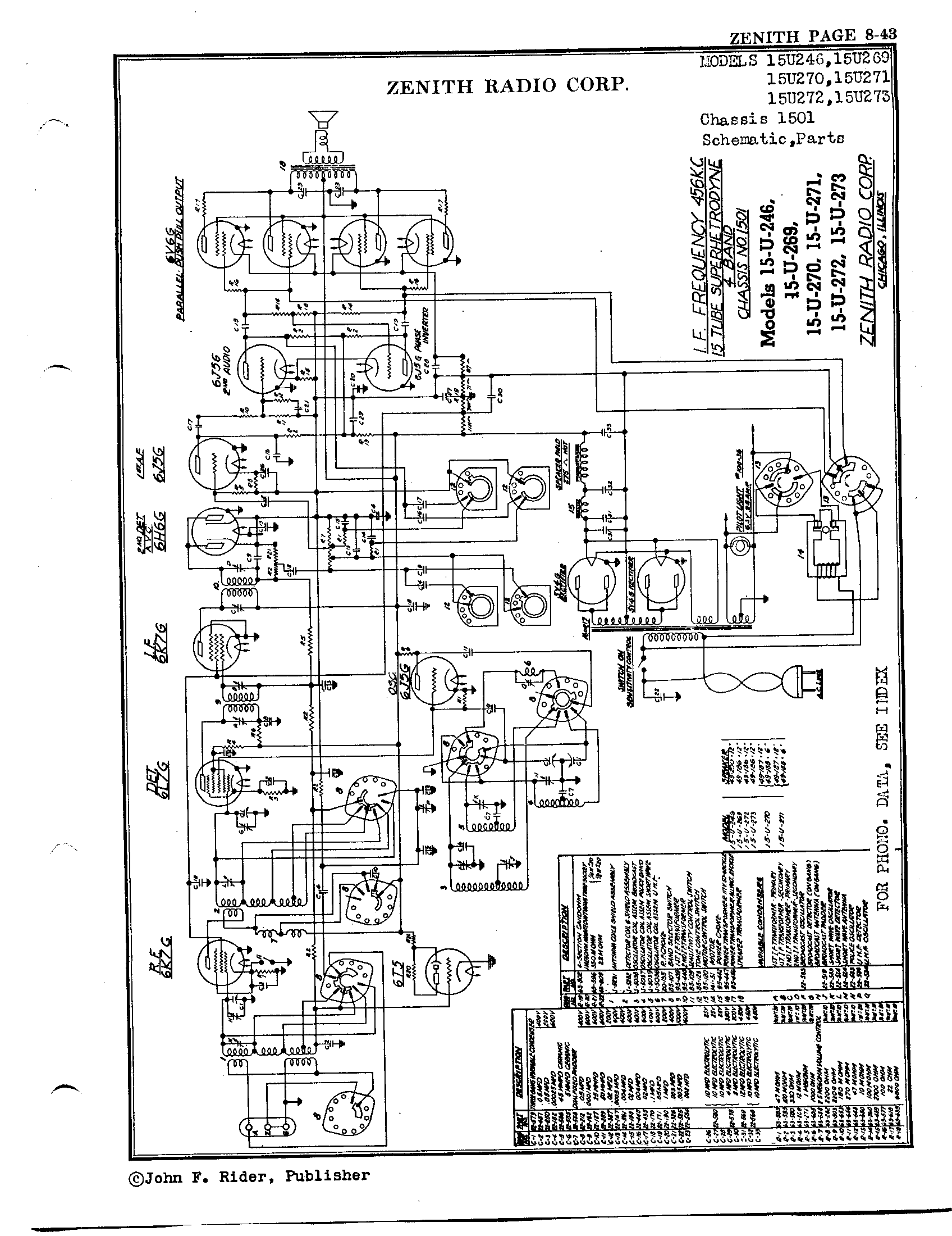 Zenith Radio Corp 15u269 Antique Electronic Supply. Page 1 8267 Kb Rider Manual Volume 8. Wiring. Zenith Tube Radio Schematics N73 1 At Scoala.co