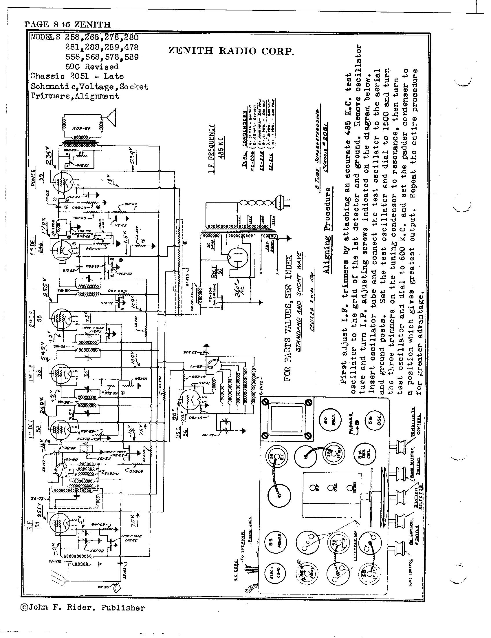 Zenith Radio Corp 268 Antique Electronic Supply
