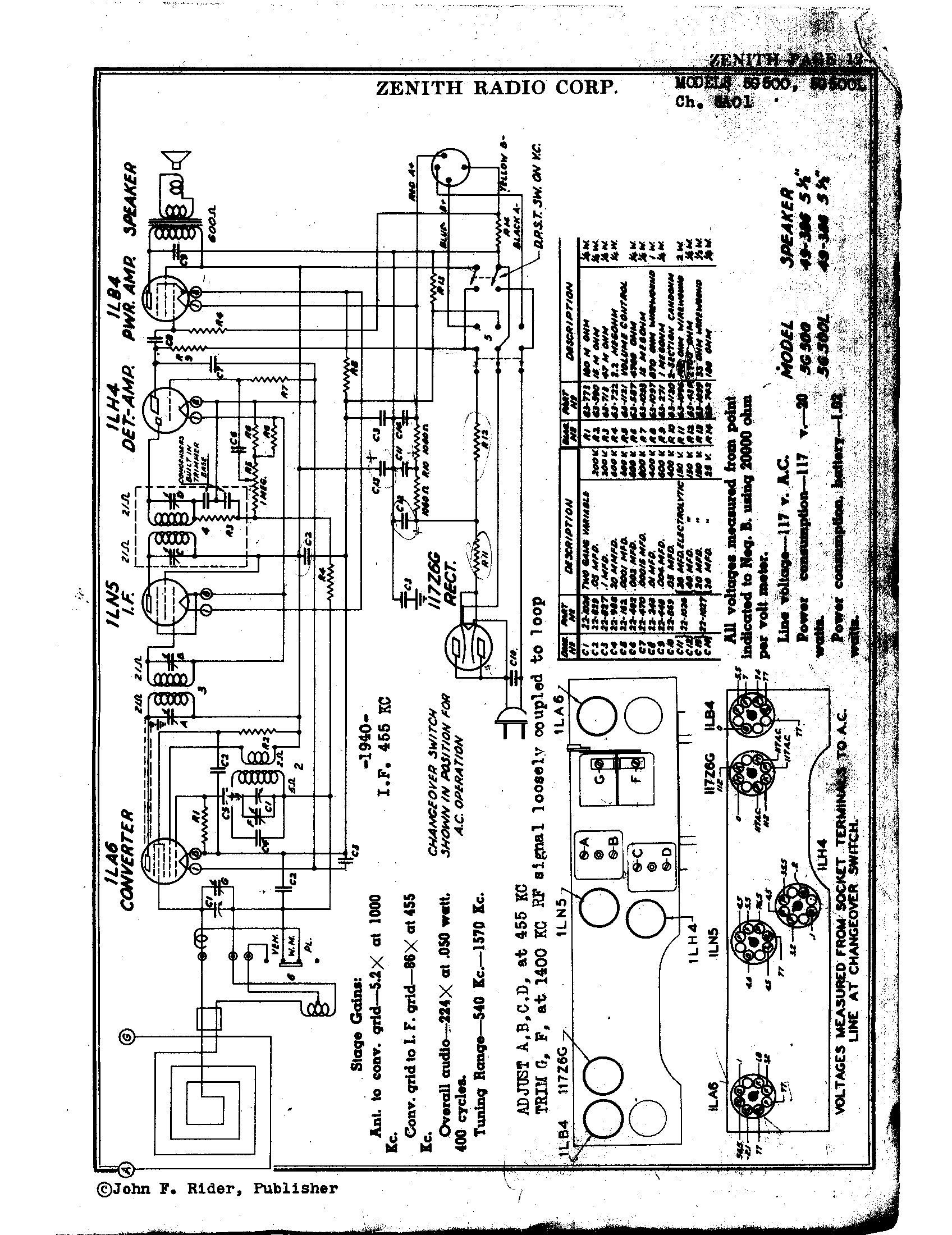 Zenith Radio Corp 5g500 Antique Electronic Supply. Page 1 9874 Kb Rider Manual Volume 12. Wiring. Zenith Tube Radio Schematics N73 1 At Scoala.co
