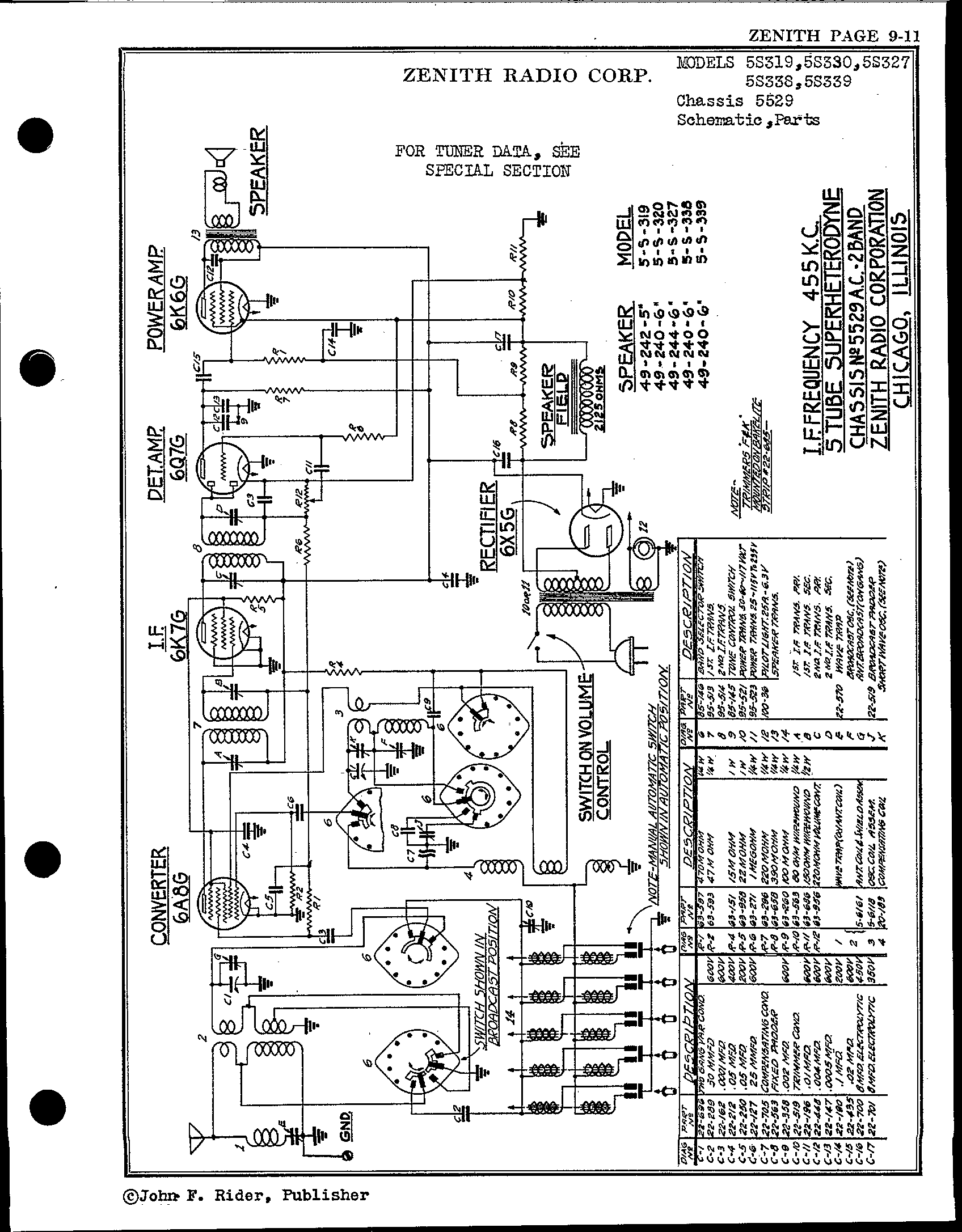 Zenith Radio Corp 5s327 Antique Electronic Supply. Page 1 8329 Kb Rider Manual Volume 9. Wiring. Zenith Tube Radio Schematics N73 1 At Scoala.co