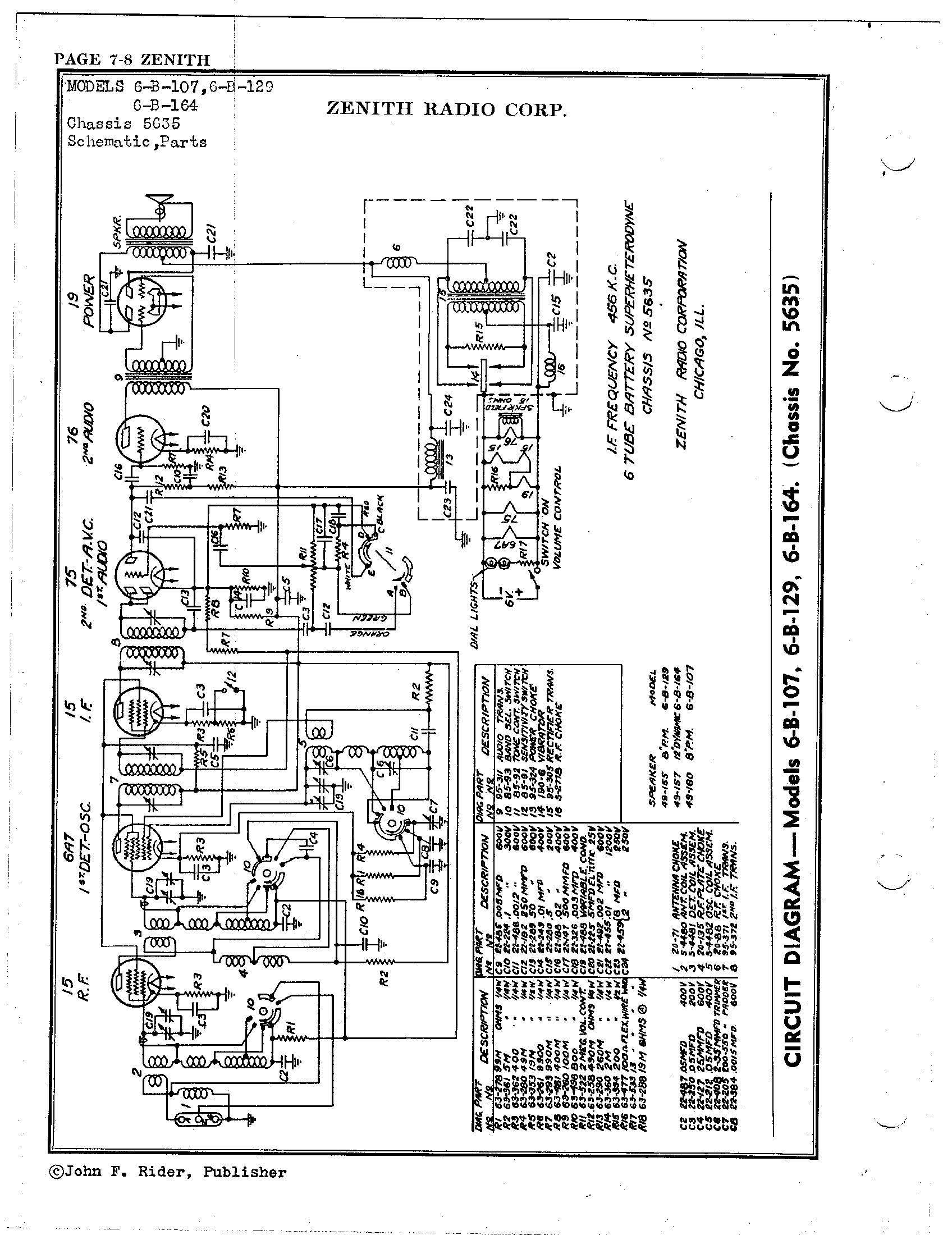 Zenith Radio Corp 6b164 Antique Electronic Supply. Page 1 7608 Kb Rider Manual Volume 7. Wiring. Zenith Tube Radio Schematics Model 6s At Scoala.co