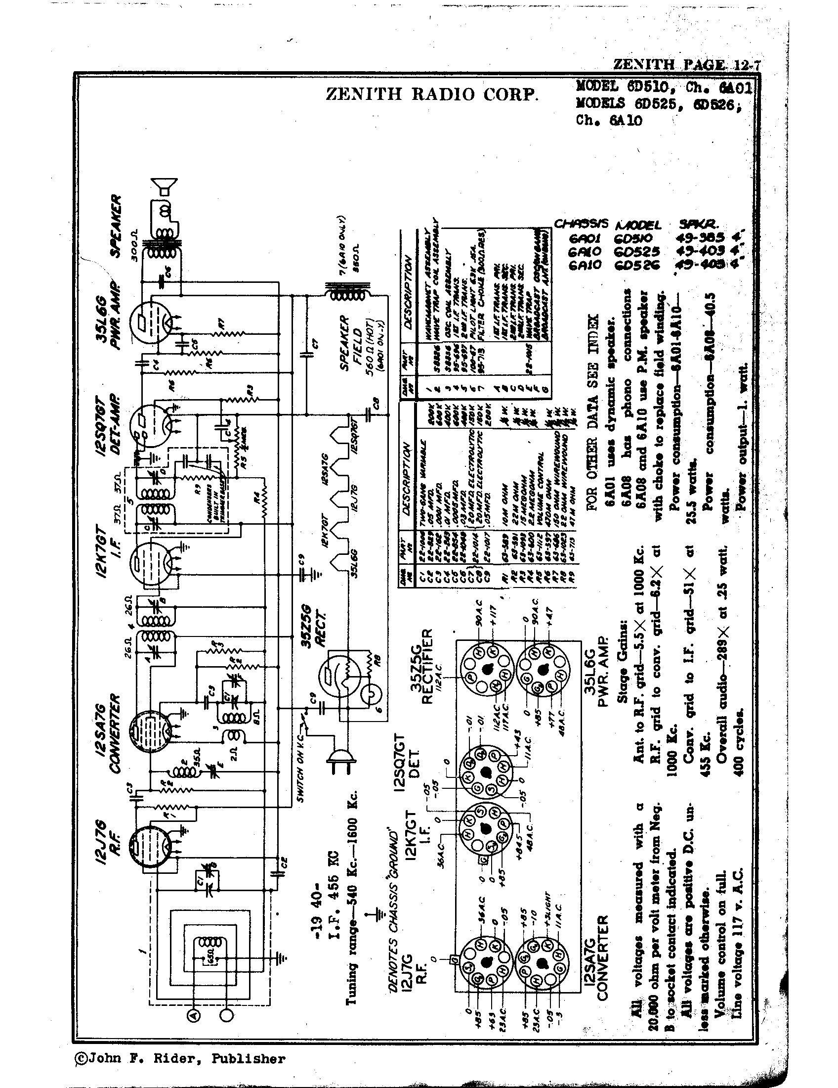 Zenith Radio Corp 6d525 Antique Electronic Supply. Page 1 8652 Kb Rider Manual Volume 12. Wiring. Zenith Tube Radio Schematics N73 1 At Scoala.co
