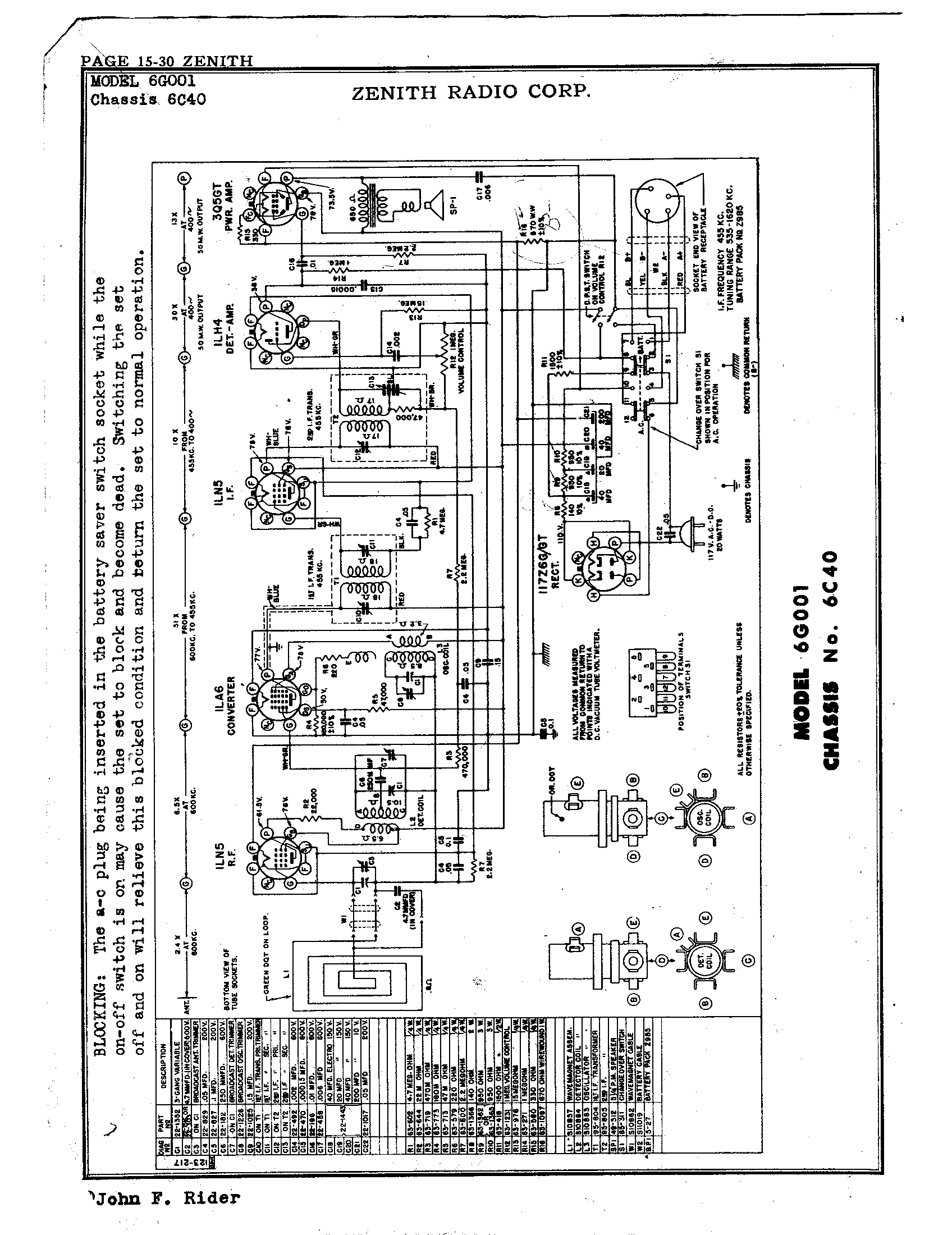 Zenith Radio Corp 6g001 Antique Electronic Supply