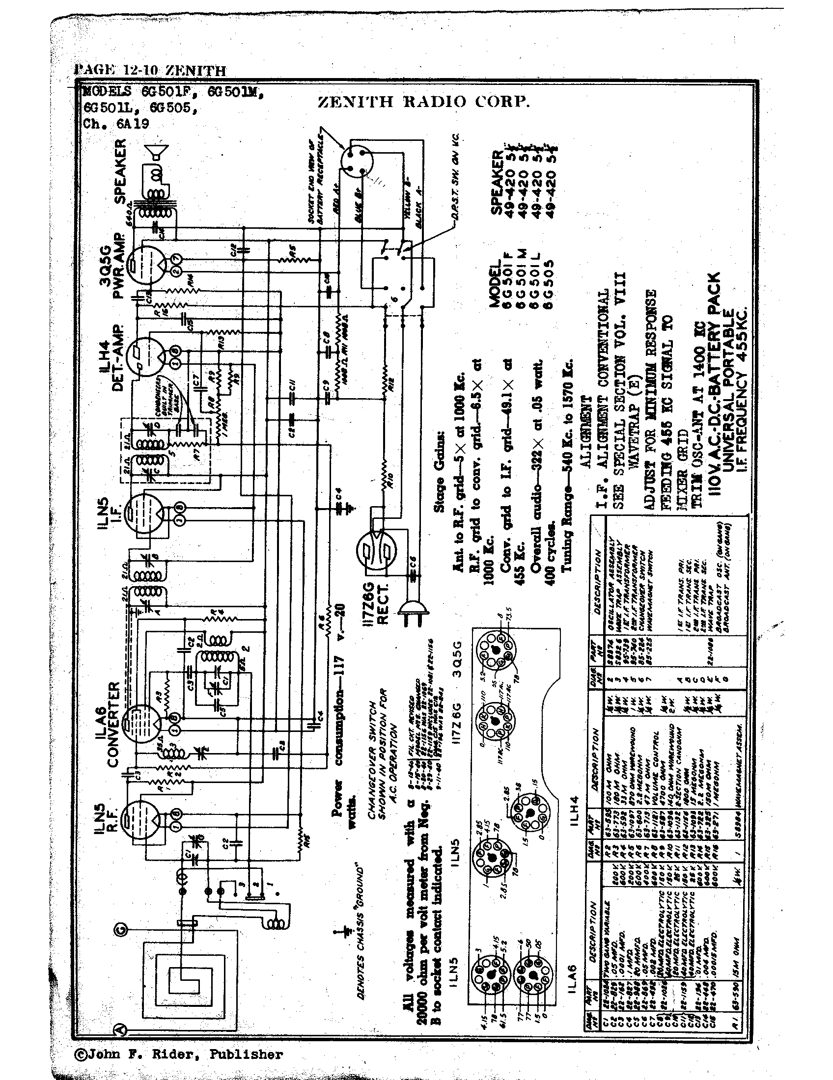 Zenith Radio Corp 6g501m Antique Electronic Supply. Page 1 98 Kb Rider Manual Volume 12. Wiring. Zenith Tube Radio Schematics N73 1 At Scoala.co