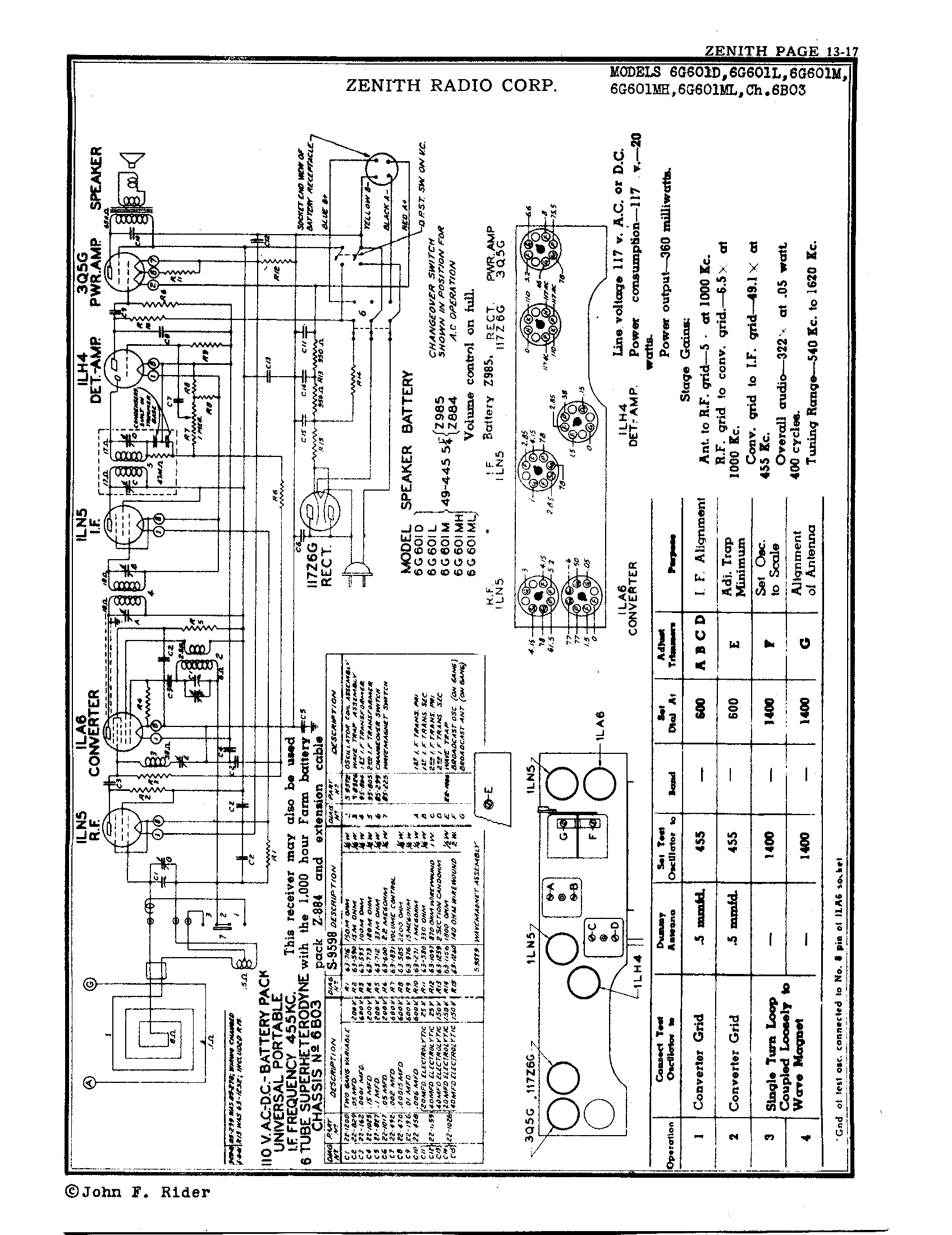 Zenith Radio Corp 6g601m Antique Electronic Supply. Page 1 834 Kb Rider Manual Volume 13. Wiring. Zenith Tube Radio Schematics N73 1 At Scoala.co