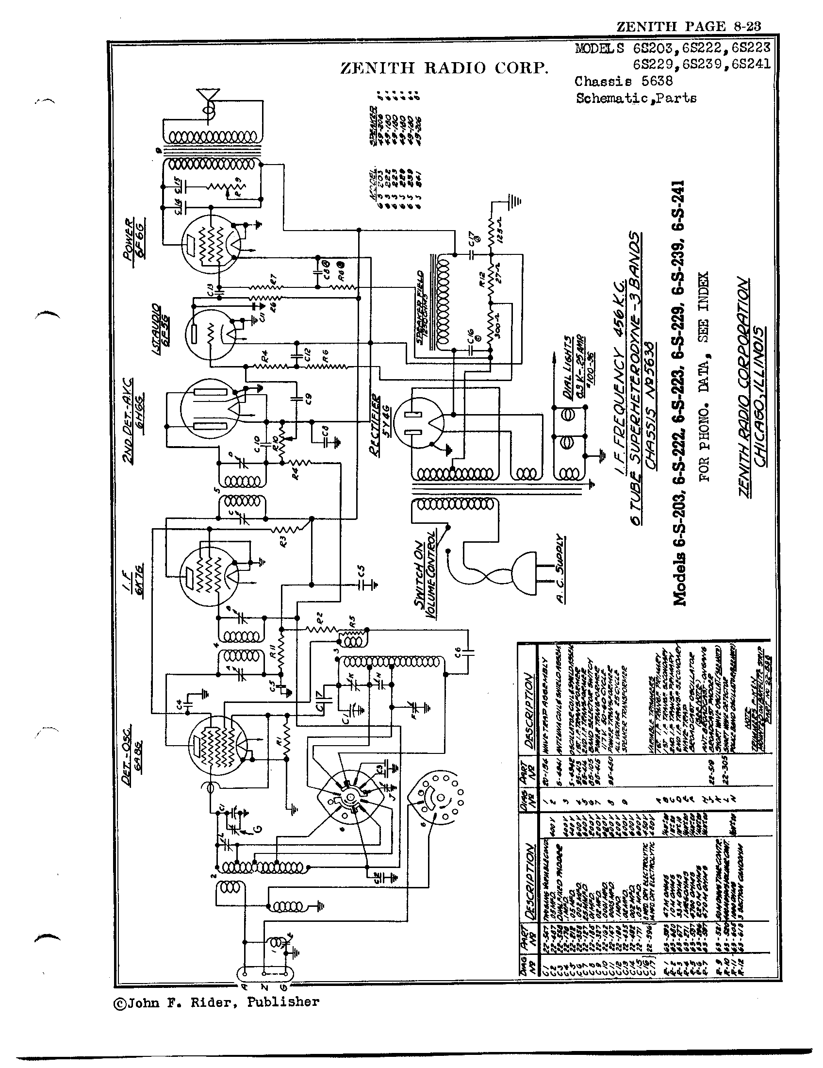 Zenith Radio Corp 6s229 Antique Electronic Supply. Page 1 7278 Kb Rider Manual Volume 8. Wiring. Zenith Tube Radio Schematics N73 1 At Scoala.co