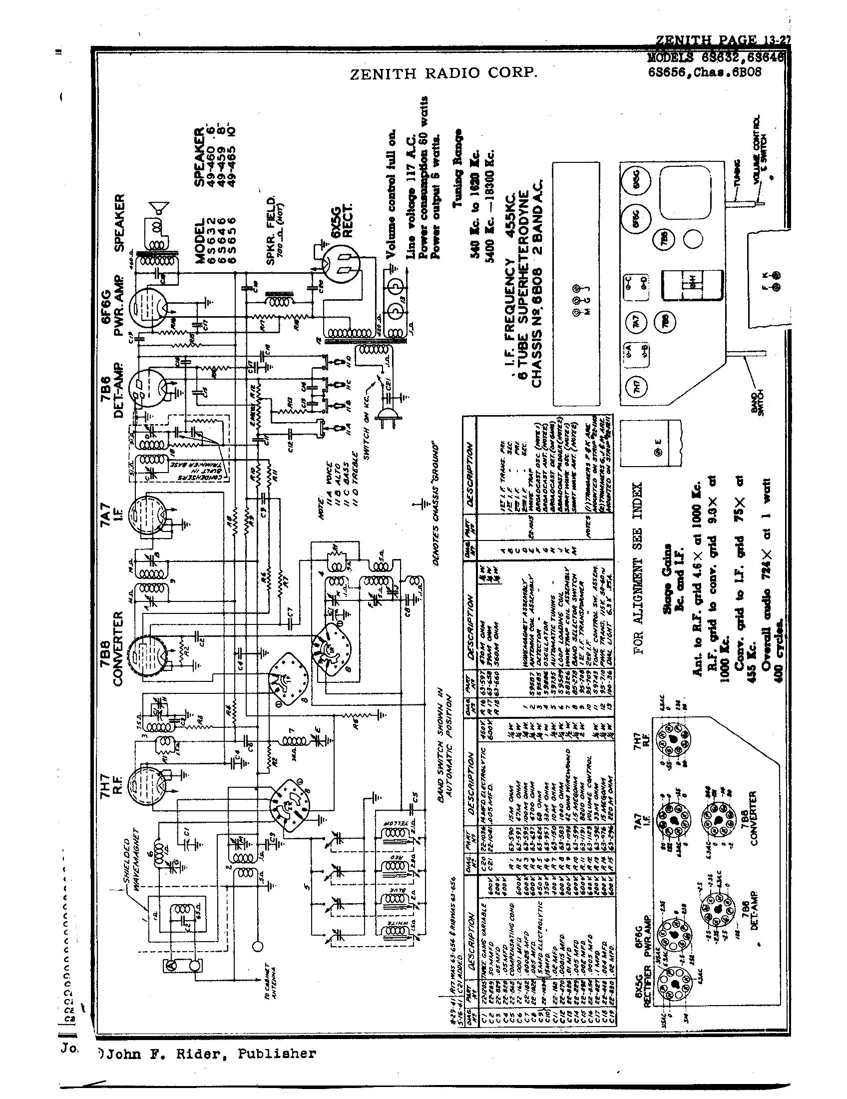 zenith radio corp  6s656