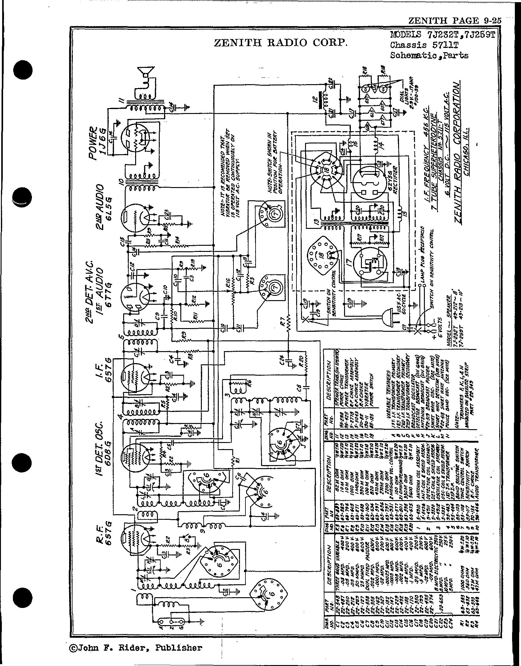 zenith radio corp  7j232t