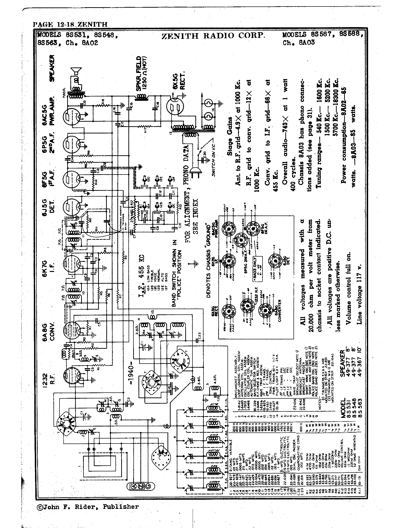 Zenith Radio Corp 8s563 Antique Electronic Supply. Page 1 9076 Kb Rider Manual Volume 12. Wiring. Zenith Tube Radio Schematics N73 1 At Scoala.co