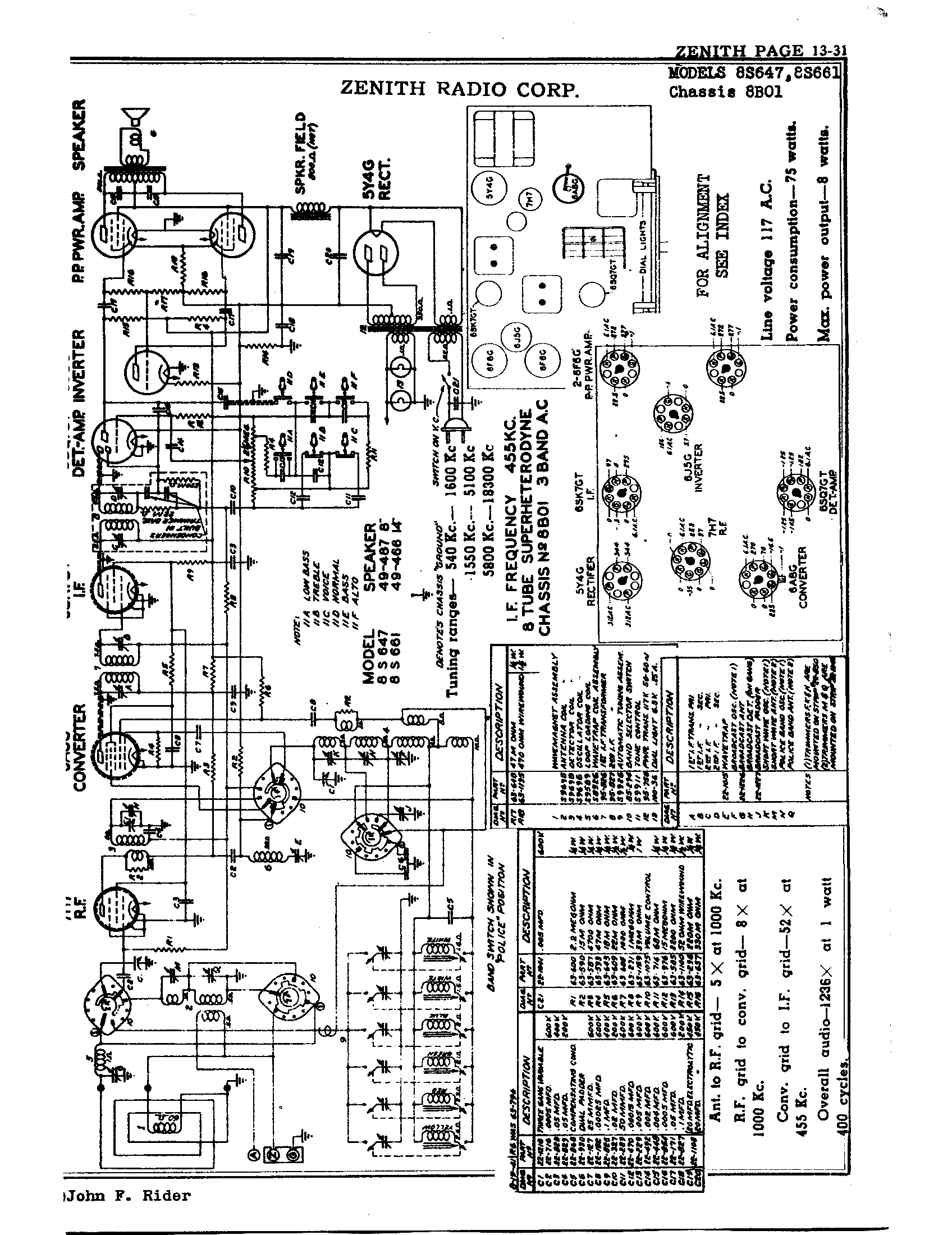 Zenith Radio Corp 8s661 Antique Electronic Supply. Page 1 9576 Kb Rider Manual Volume 13. Wiring. Zenith Tube Radio Schematics N73 1 At Scoala.co