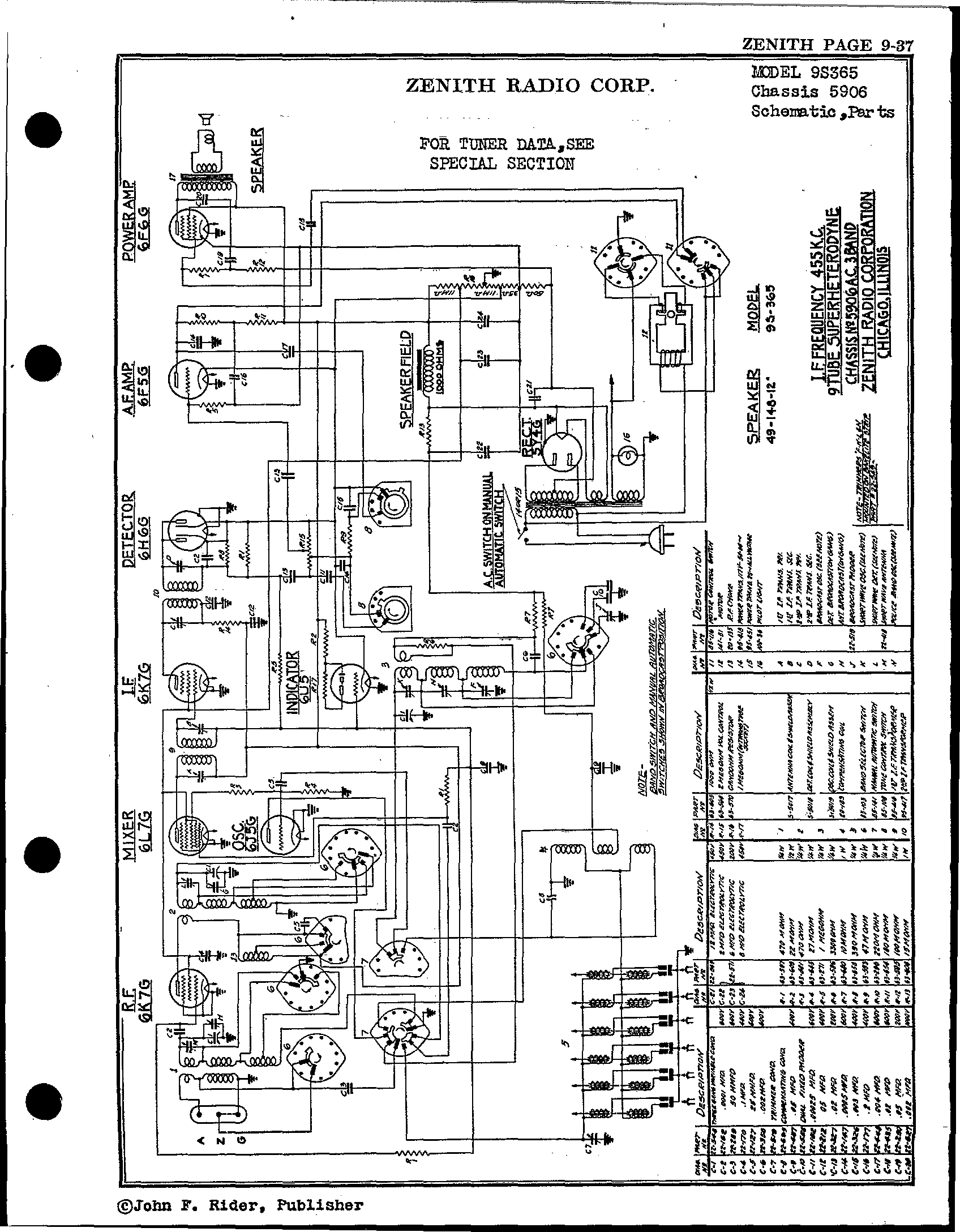 Zenith Radio Corp 9s365 Antique Electronic Supply. Page 1 8624 Kb Rider Manual Volume 9. Wiring. Zenith Tube Radio Schematics N73 1 At Scoala.co
