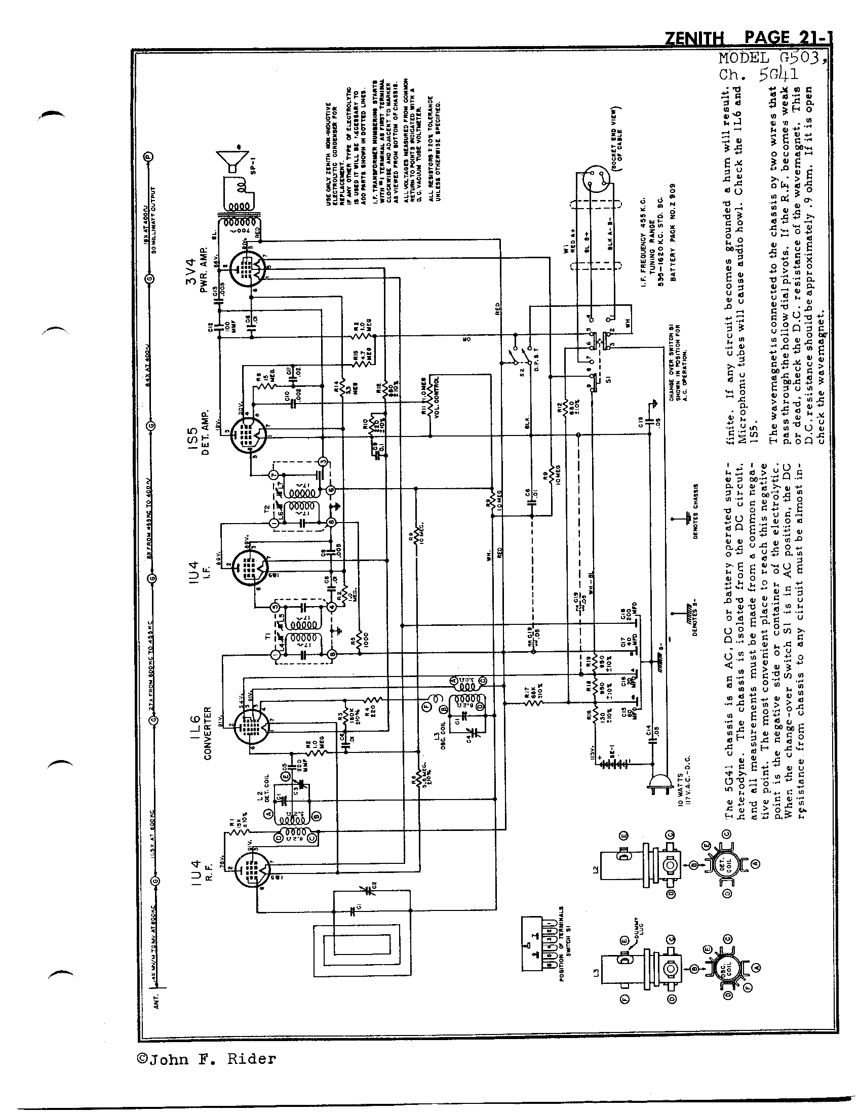 Zenith Radio Corp G503 Antique Electronic Supply. Page 1 5952 Kb Rider Manual Volume 21. Wiring. Zenith Tube Radio Schematics N73 1 At Scoala.co