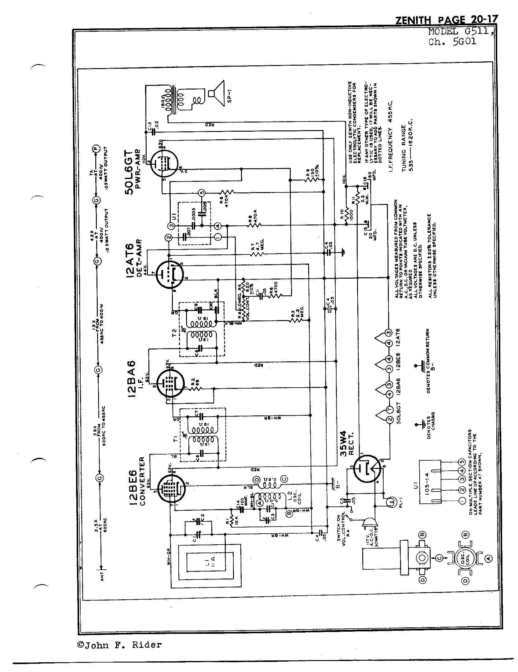 Zenith Radio Corp G511 Antique Electronic Supply. Page 1 4803 Kb Rider Manual Volume 20. Wiring. Zenith Tube Radio Schematics N73 1 At Scoala.co