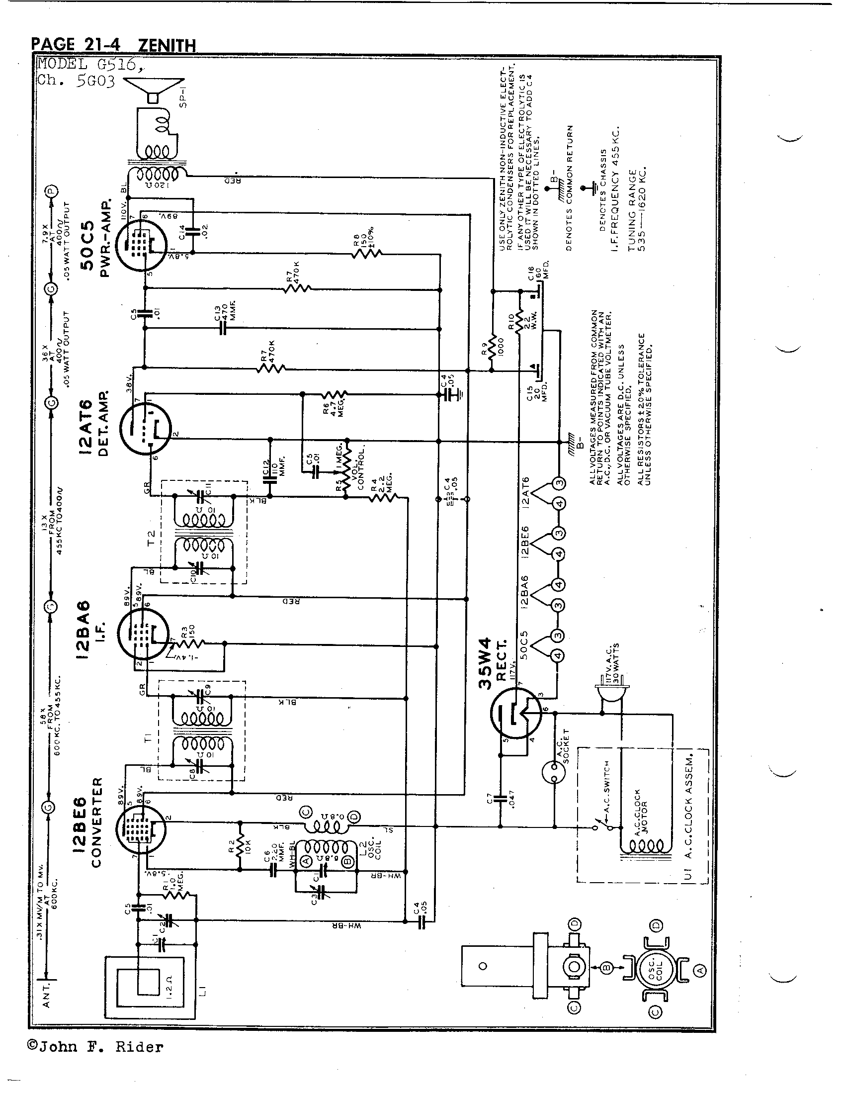 Zenith Radio Corp G516 Antique Electronic Supply. Page 1 4843 Kb Rider Manual Volume 21. Wiring. Zenith Tube Radio Schematics N73 1 At Scoala.co