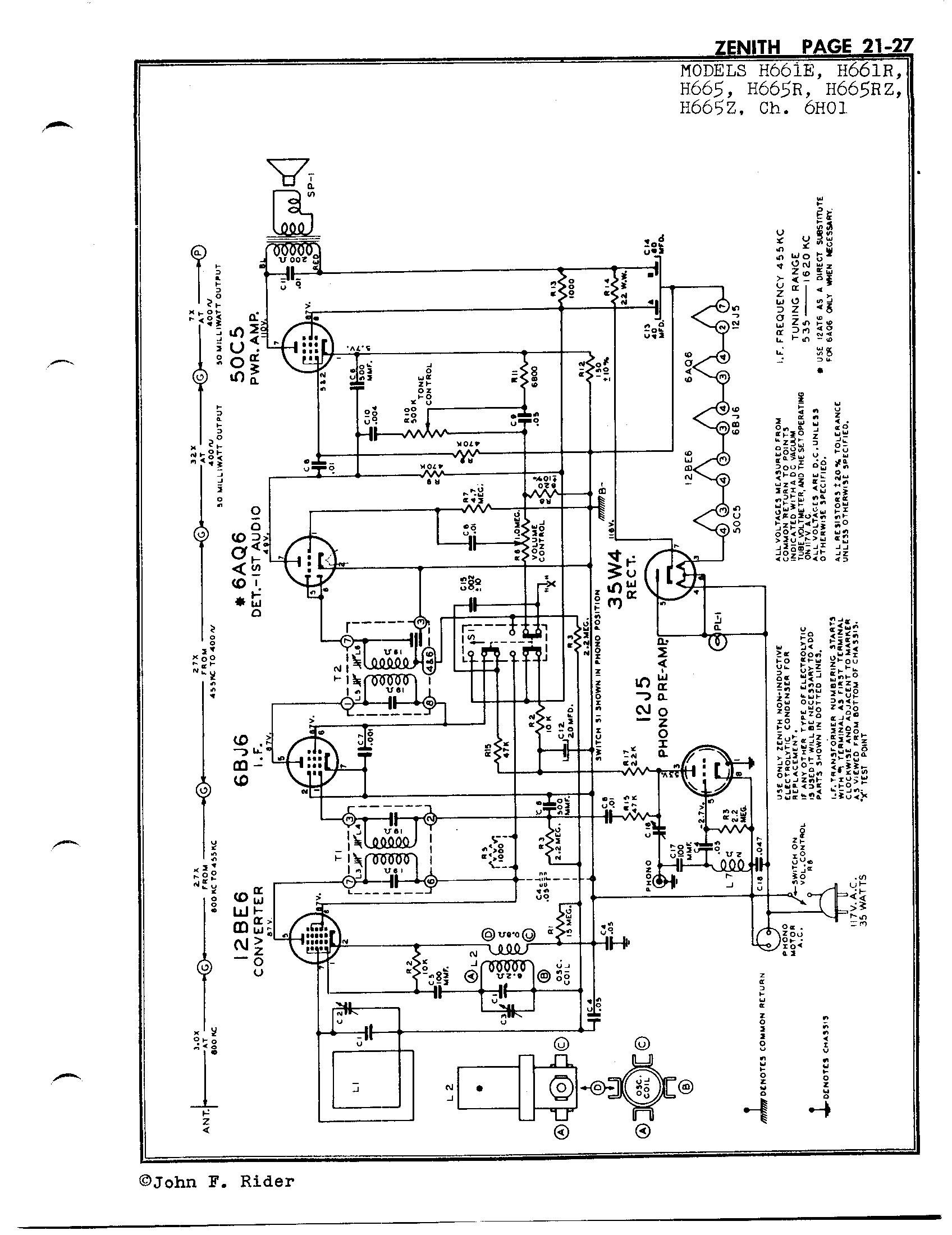 zenith tube radio schematics wiring diagram database Zenith Radio Serial Number Search zenith radio corp h665 antique electronic supply zenith 35a tube radio schematics schematic pages